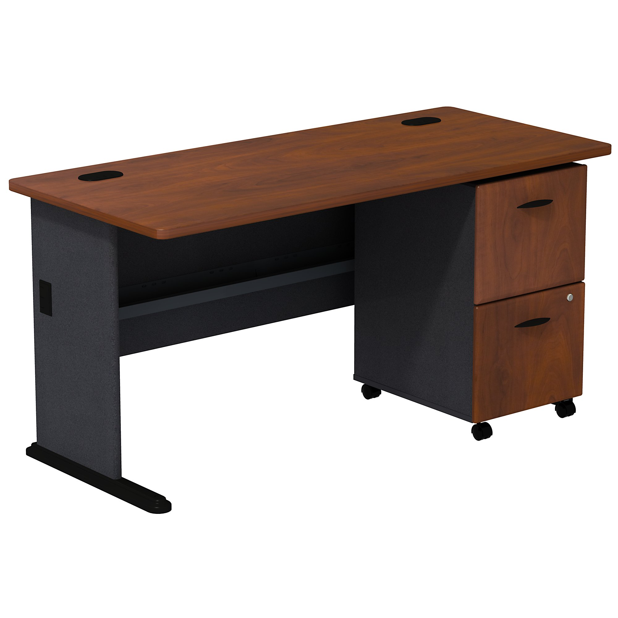 hansen cherry series a desk with mobile pedestal