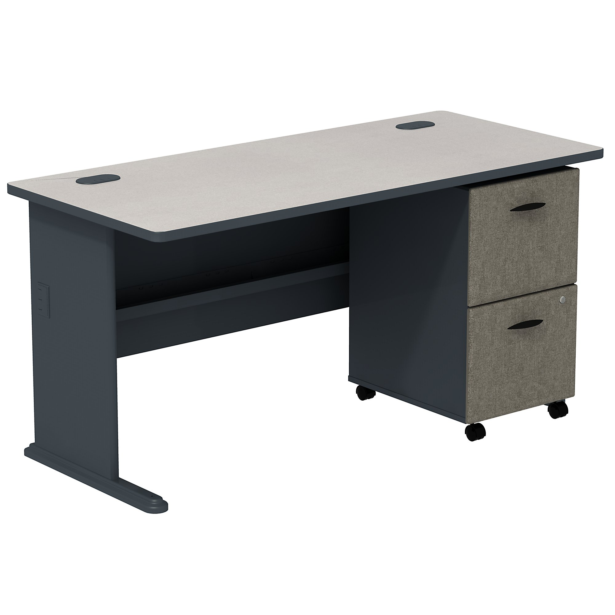 slate series a desk with mobile pedestal