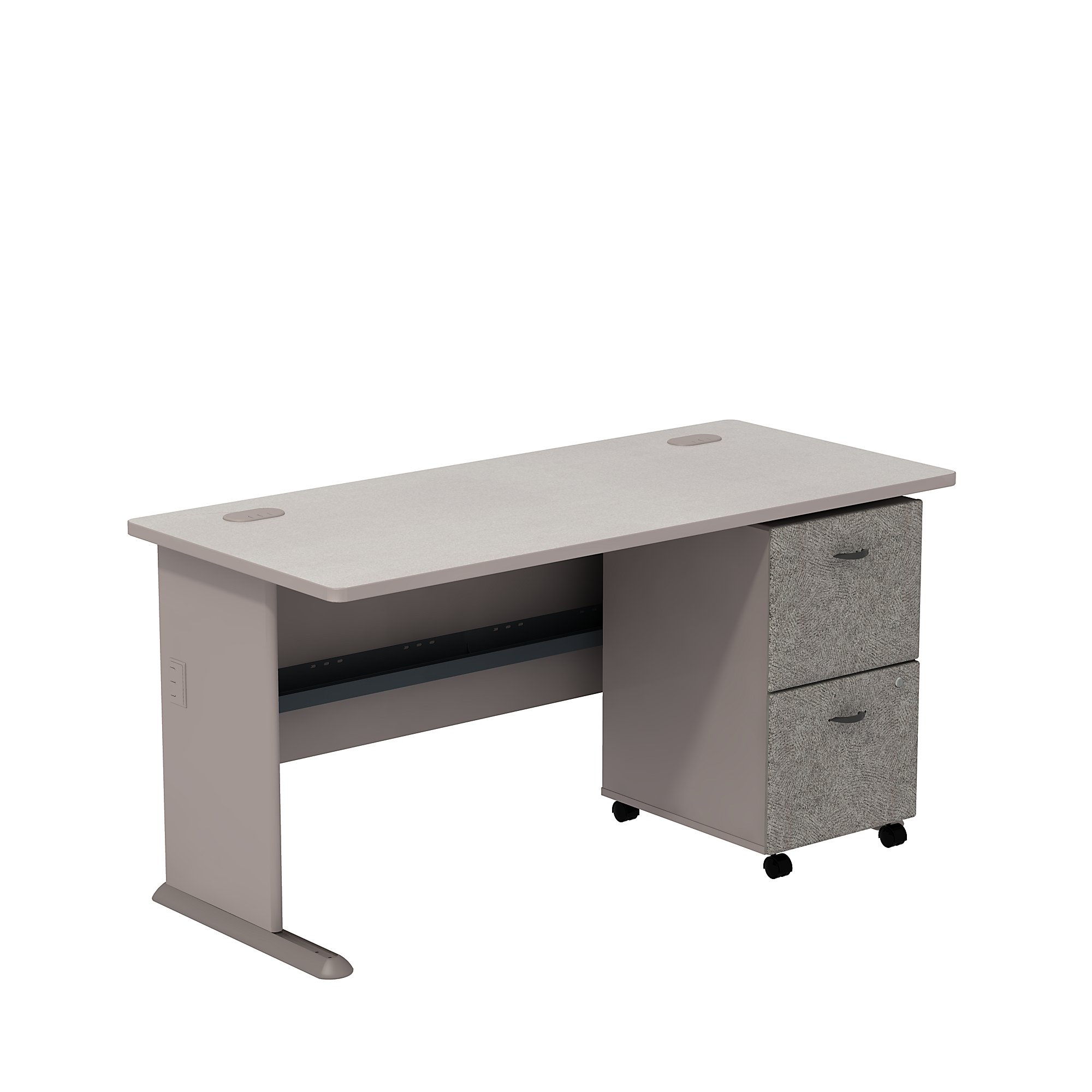 pewter series a desk with mobile pedestal