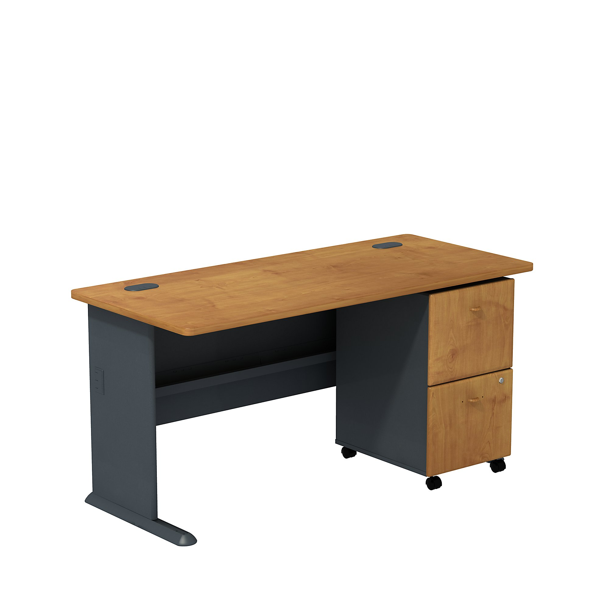 natural cherry series a desk with mobile pedestal