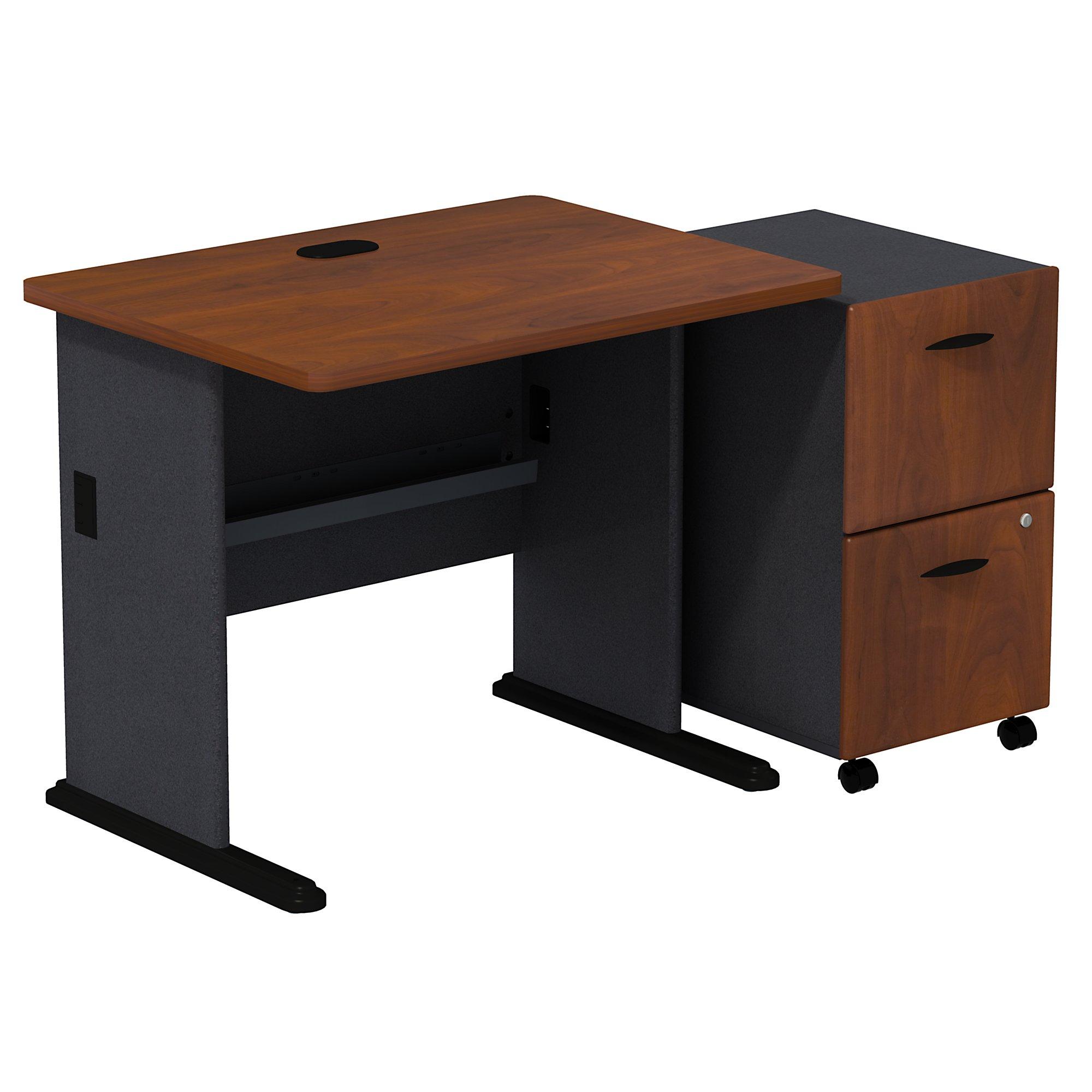 """hansen cherry 36"""" desk with pedestal"""