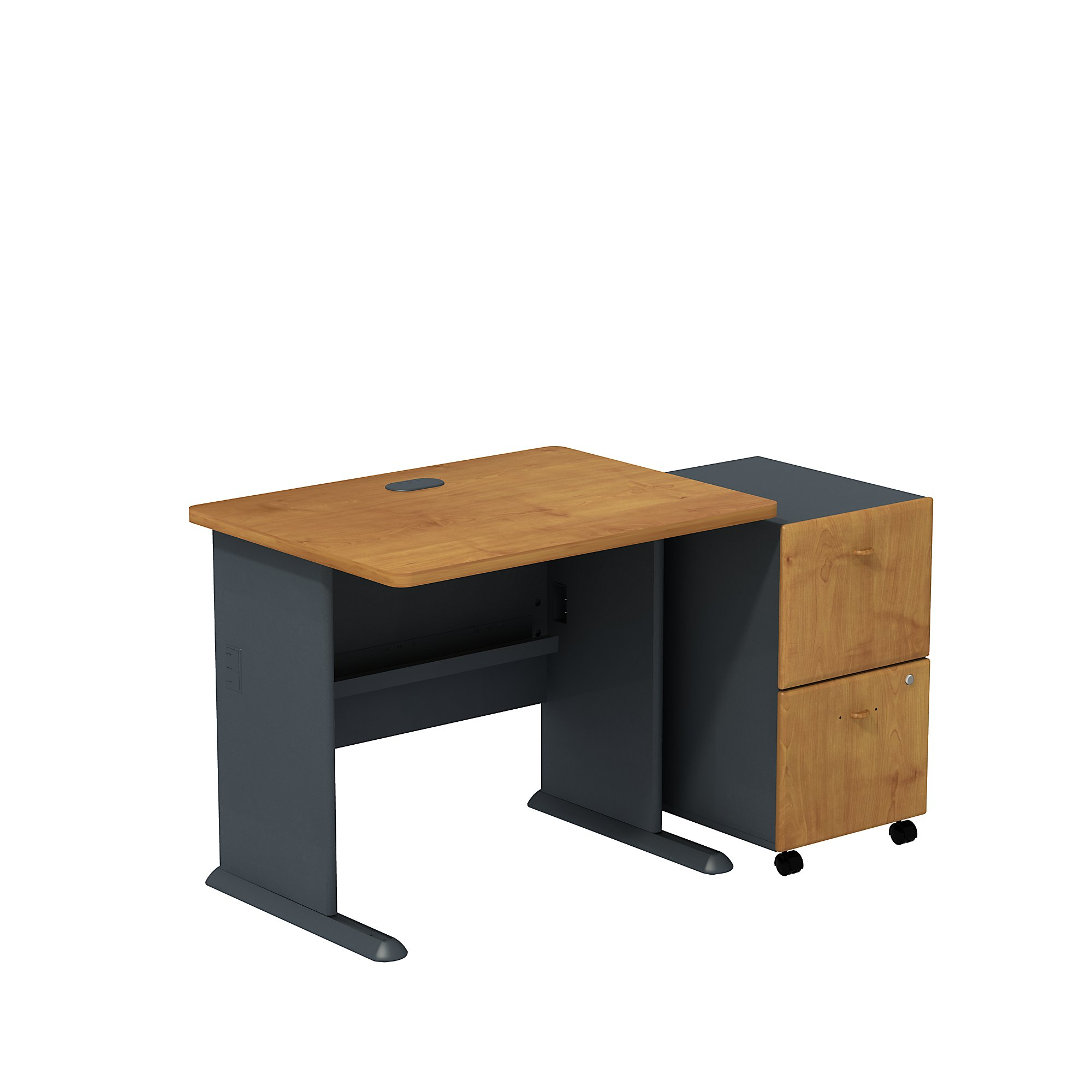 """natural cherry 36"""" desk with pedestal"""