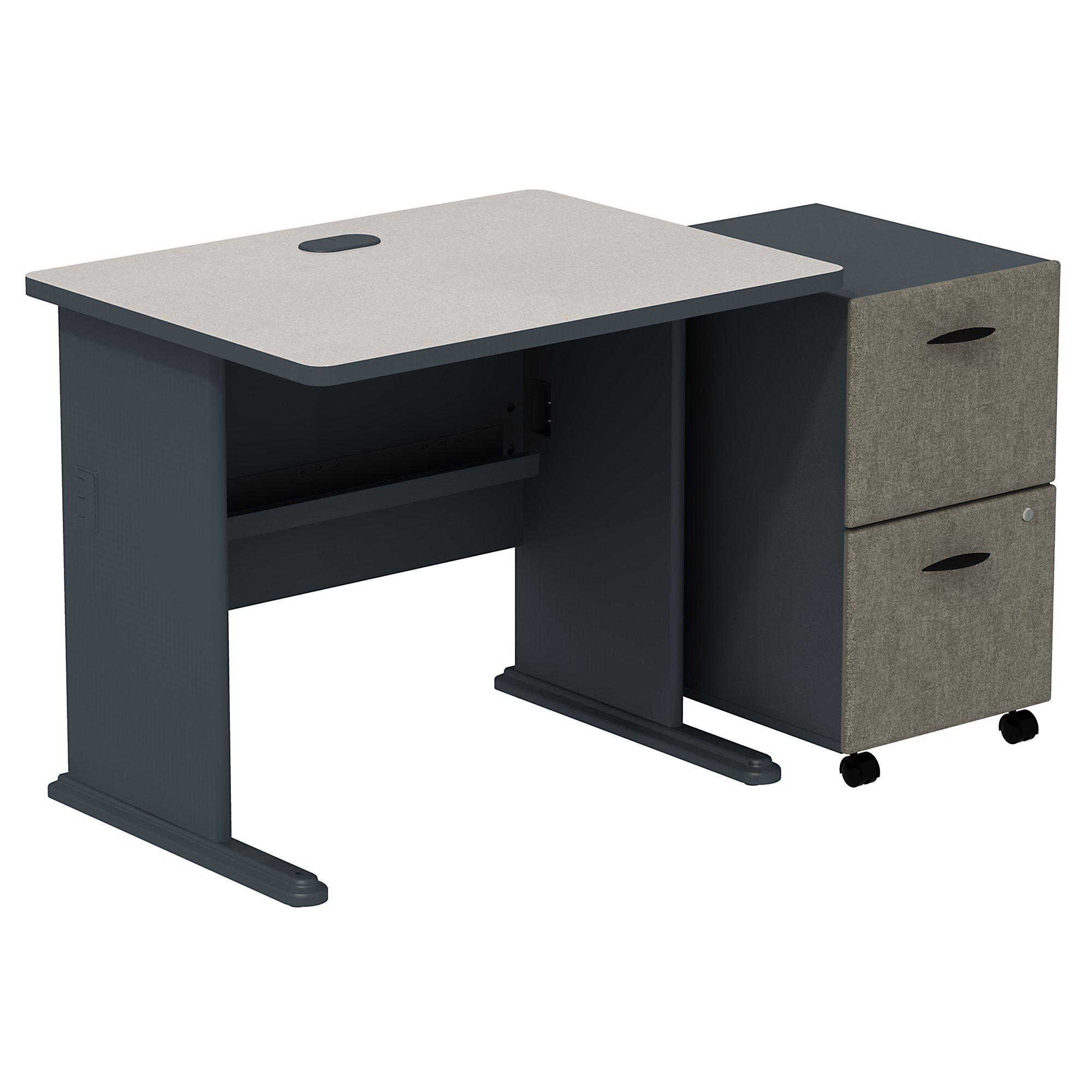"""slate 36"""" desk with pedestal"""