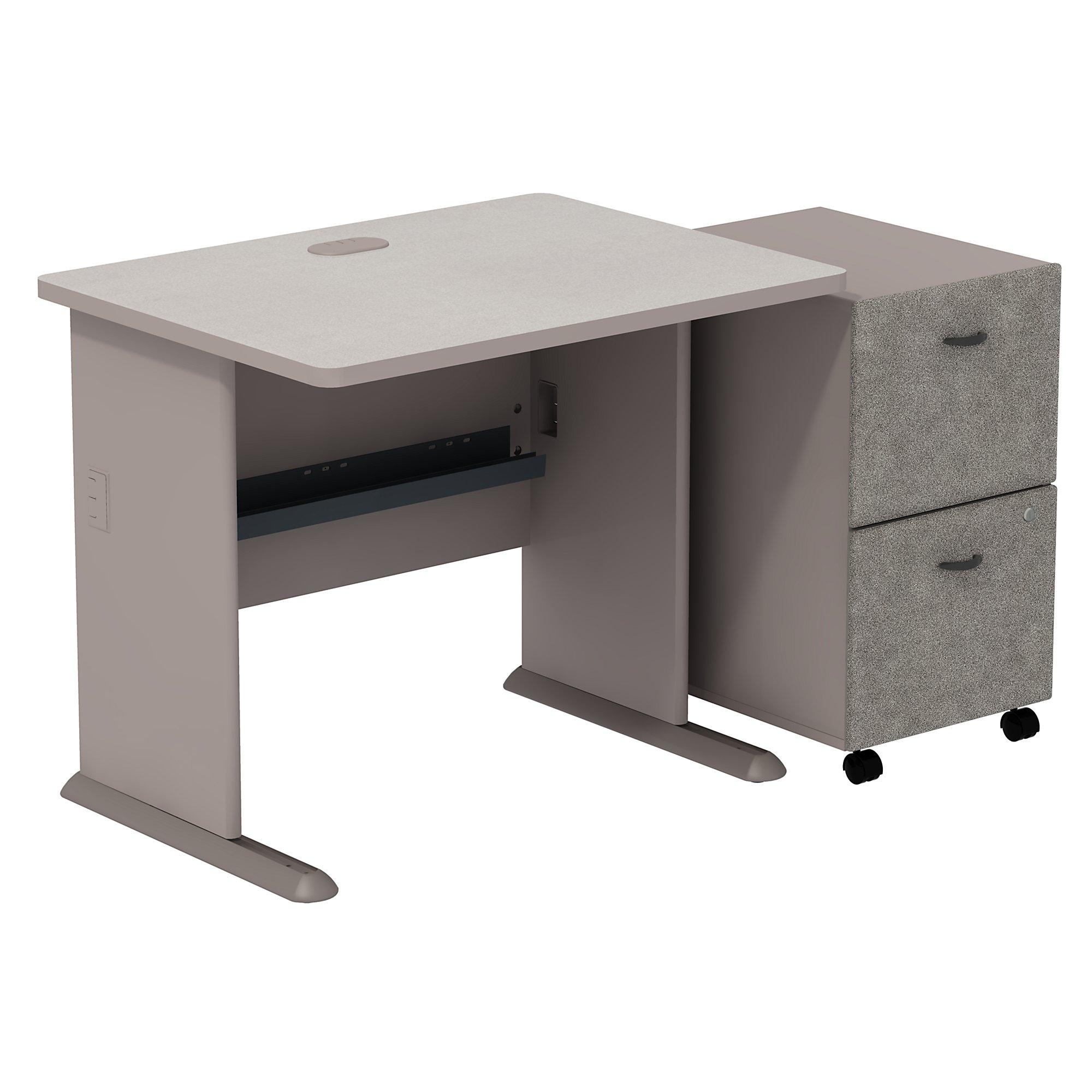 """pewter 36"""" desk with pedestal"""