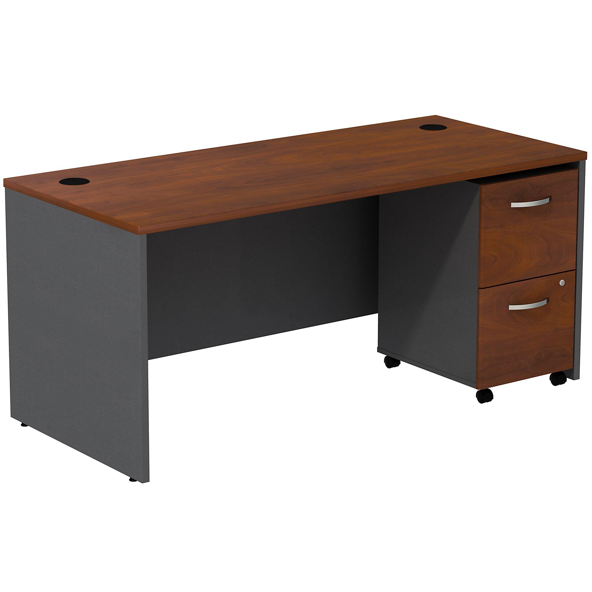 hansen cherry series c desk with mobile pedestal