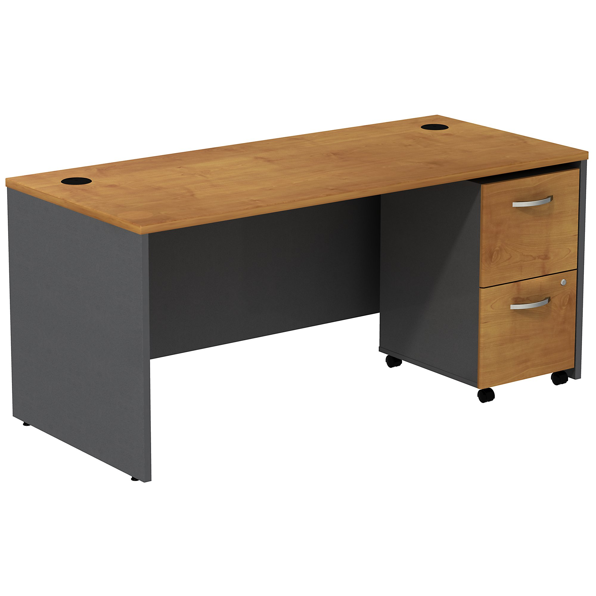 natural cherry series c desk with mobile pedestal