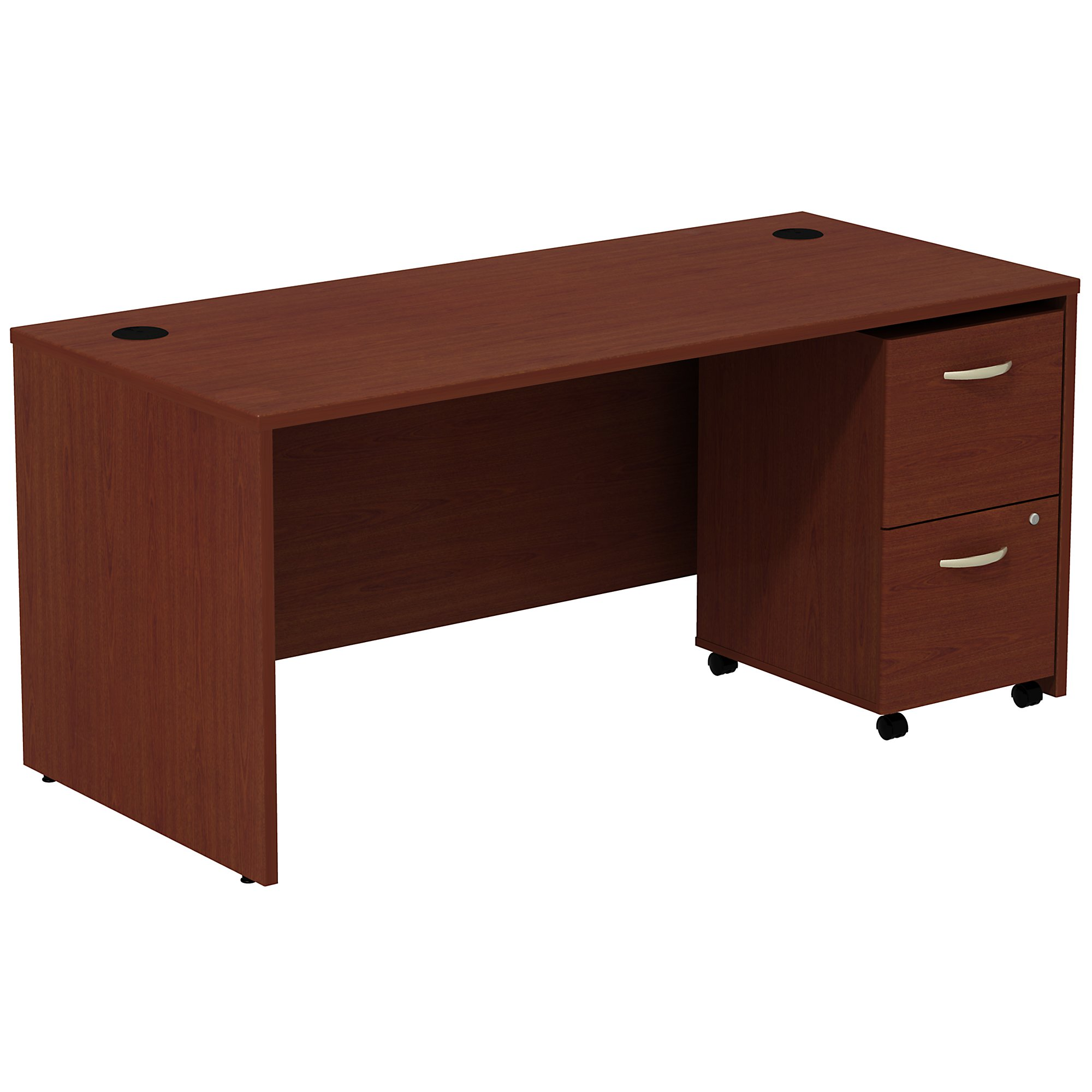 mahogany series c desk with mobile pedestal