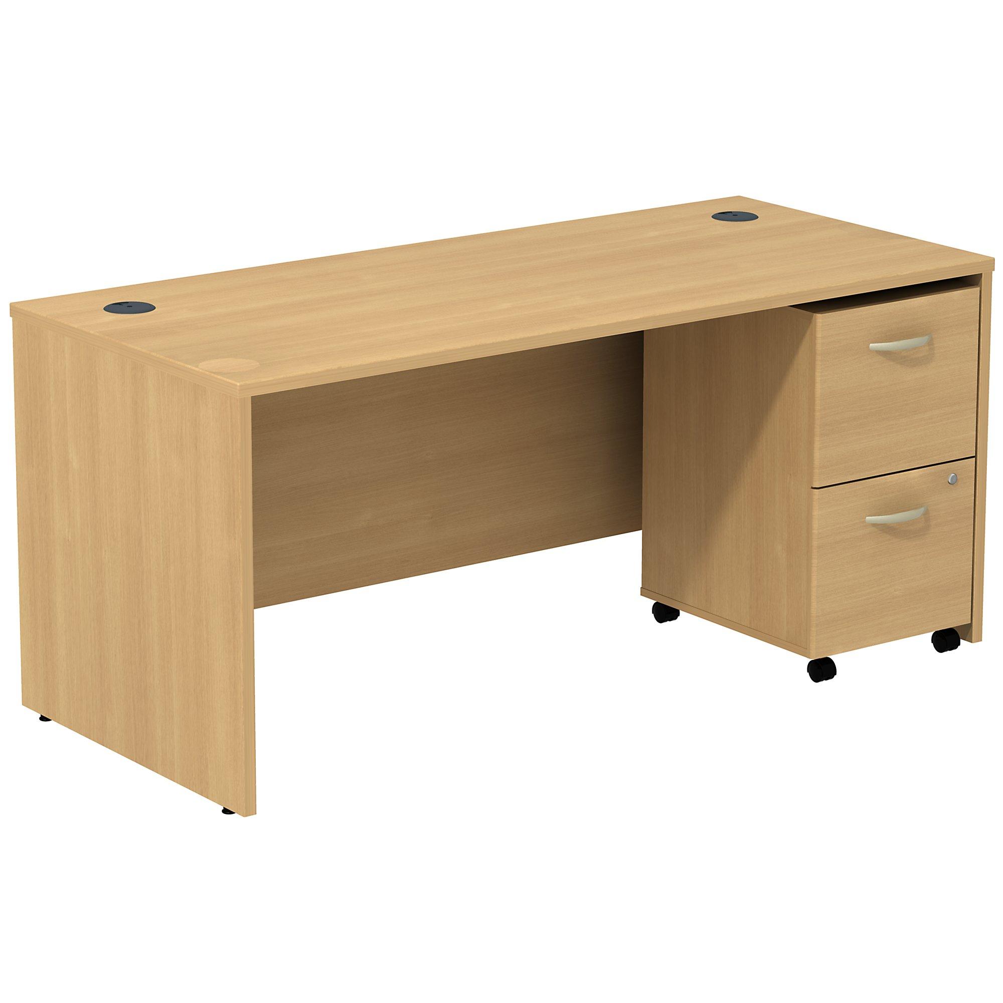 light oak series c desk with mobile pedestal