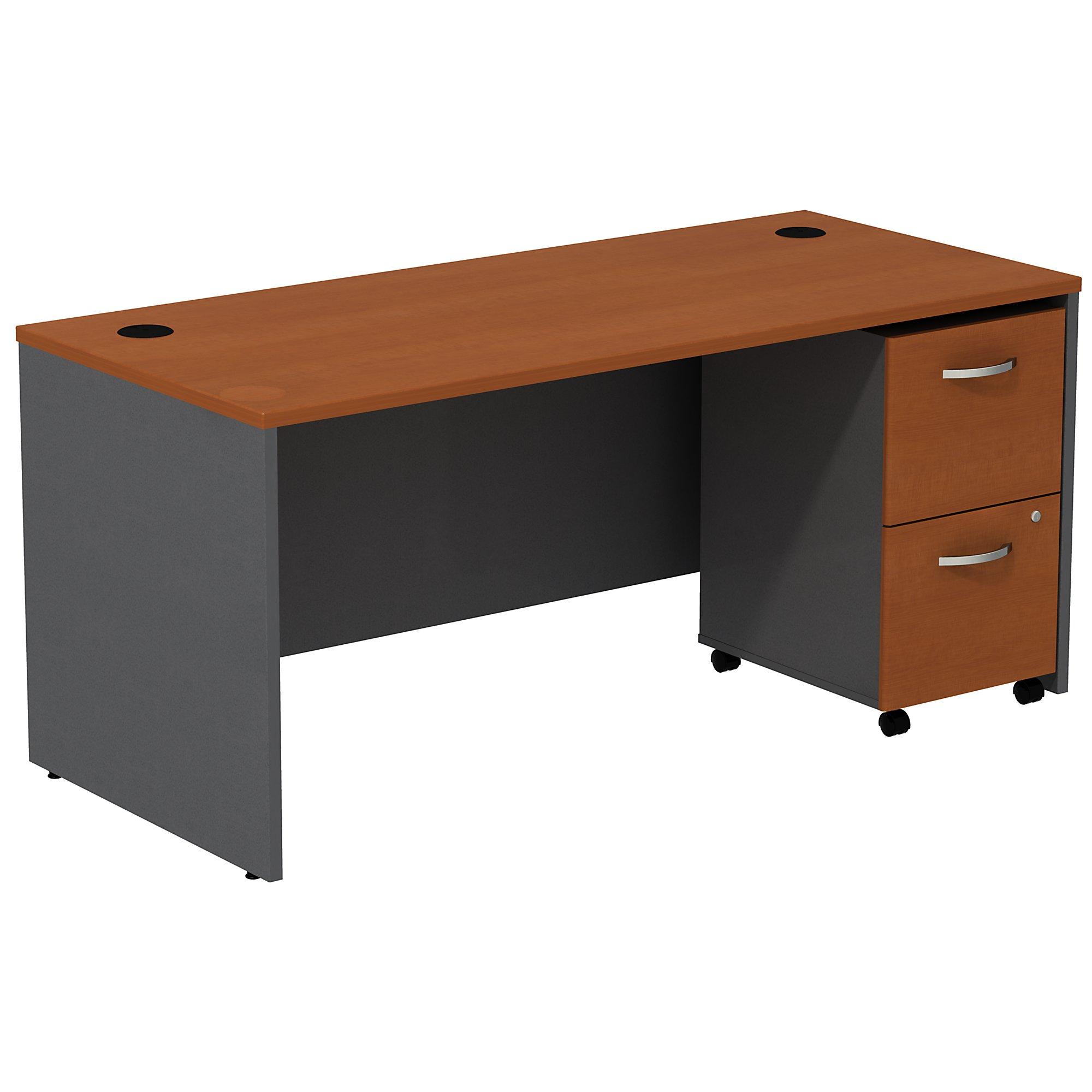 auburn maple series c desk with mobile pedestal