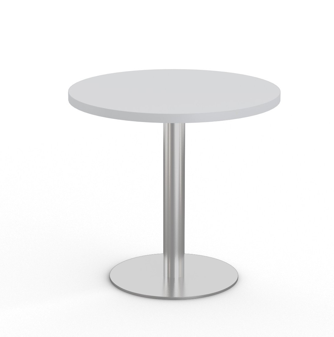 """light grey 36"""" bistro table with stainless steel base"""