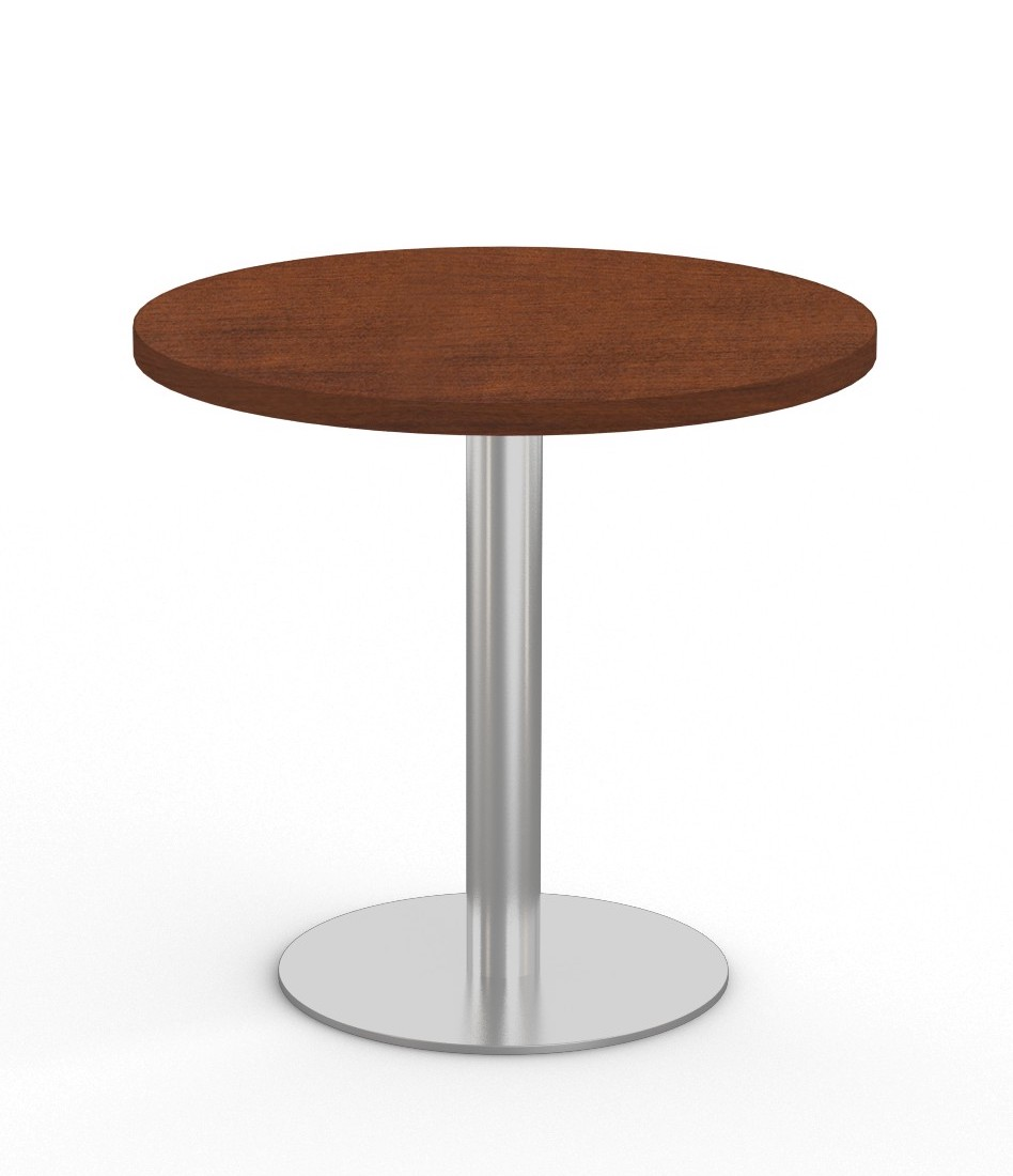 """mahogany 36"""" bistro table with stainless steel base"""