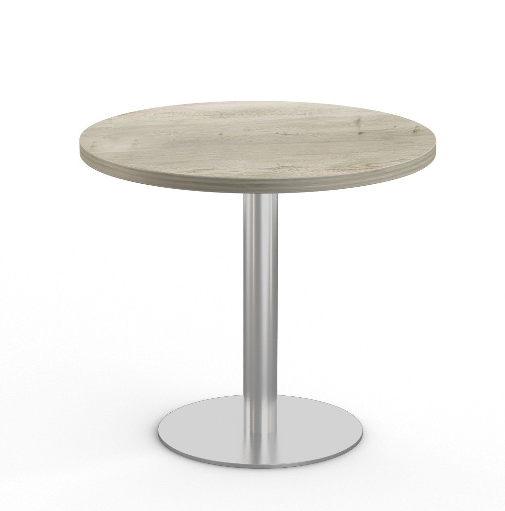 """aged driftwood 36"""" bistro table with stainless steel base"""