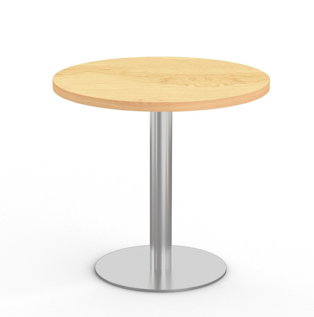 """crema maple 36"""" bistro table with stainless steel base"""