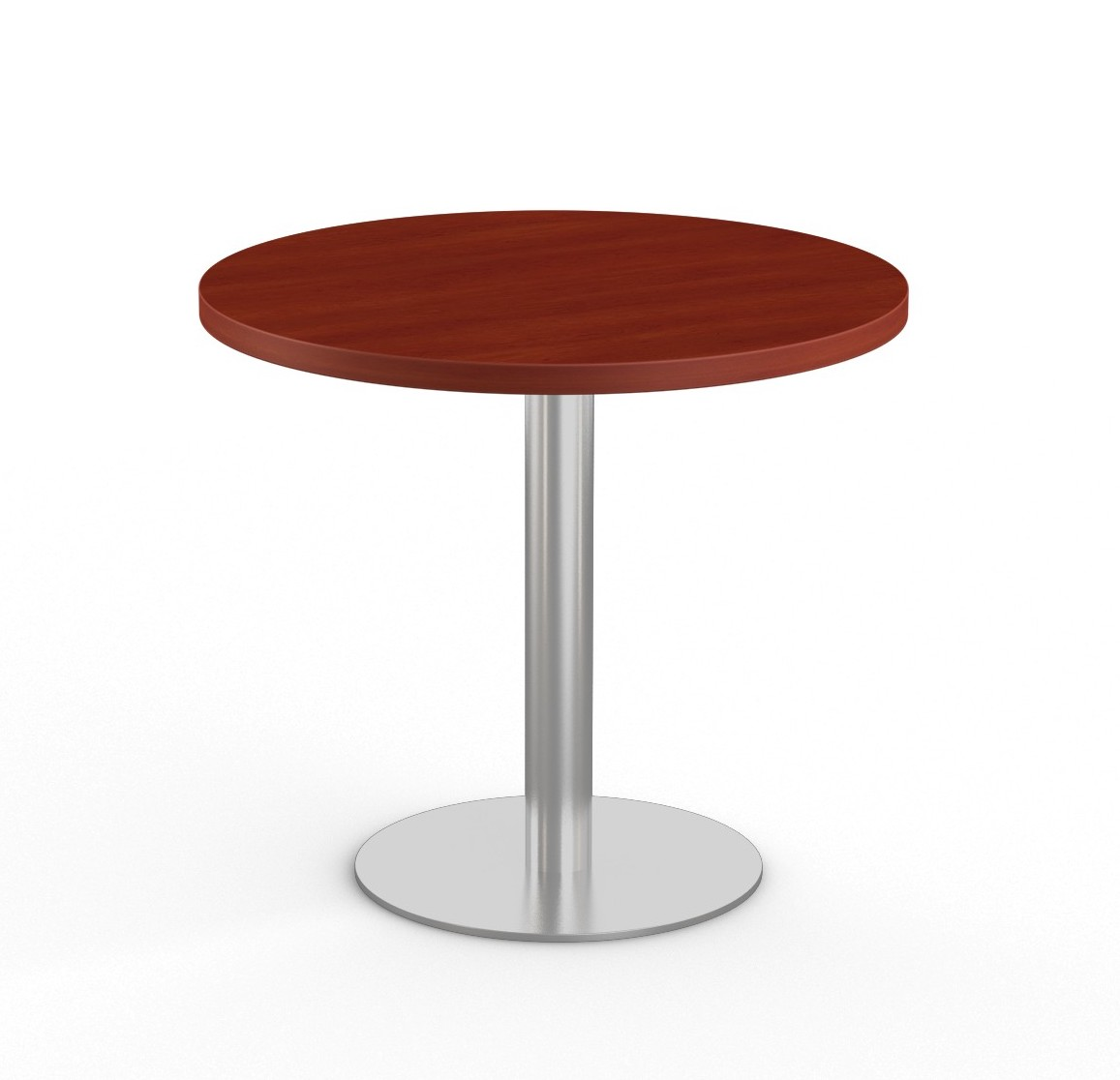 """cherry 36"""" bistro table with stainless steel base"""