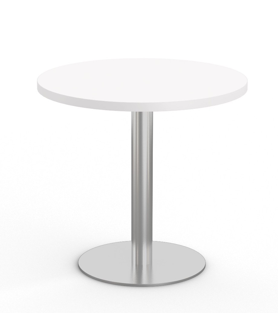 """white 36"""" bistro table with stainless steel base"""
