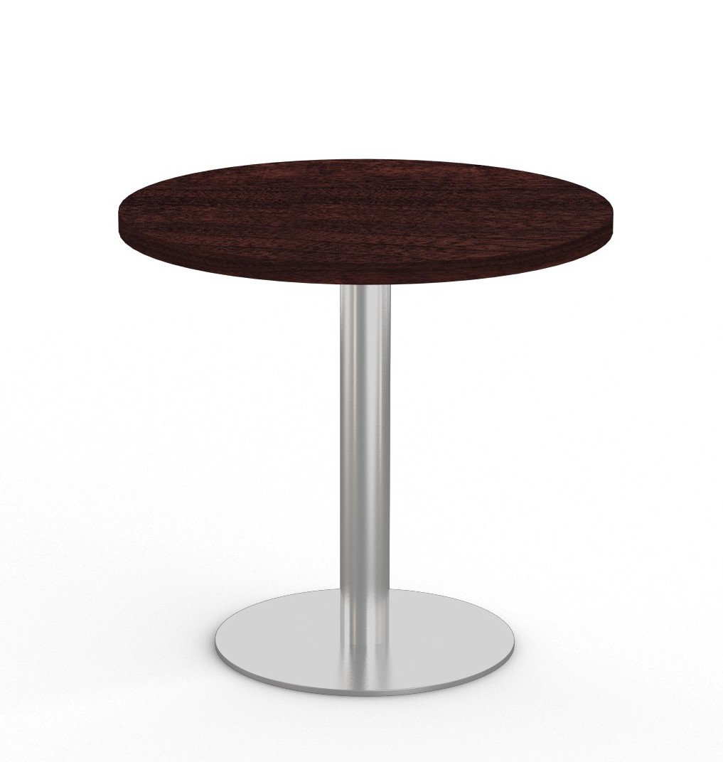 """espresso 36"""" bistro table with stainless steel base"""