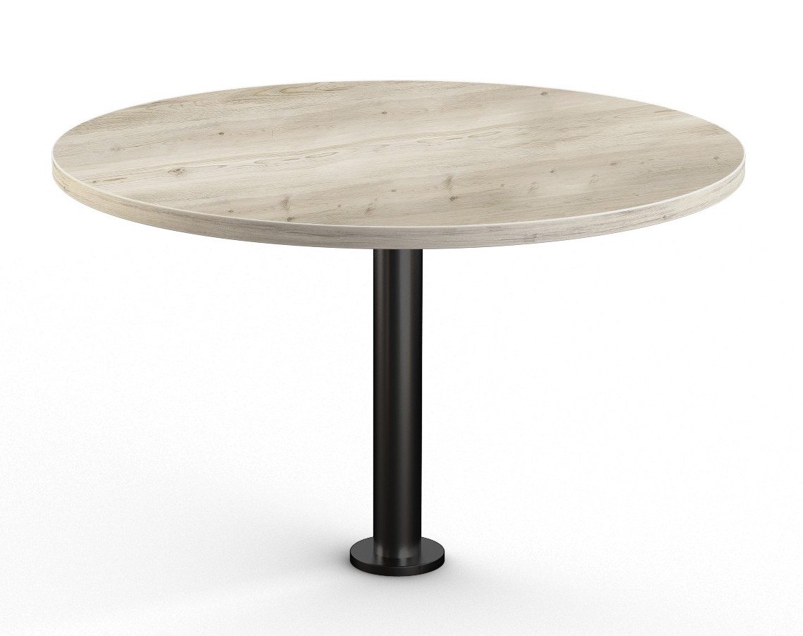 aged driftwood floor mounted round table
