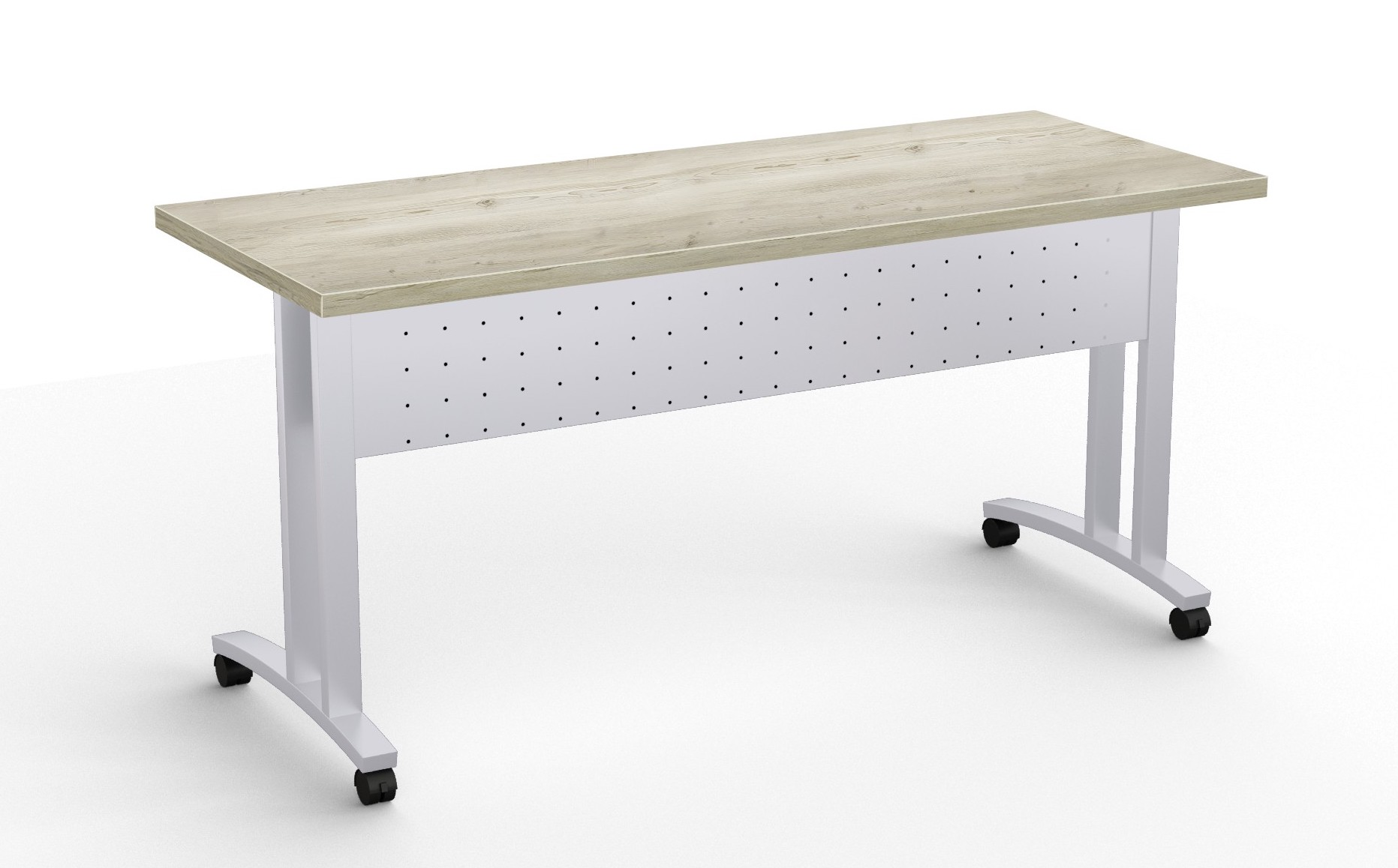 structure c leg flip top training room table in aged driftwood