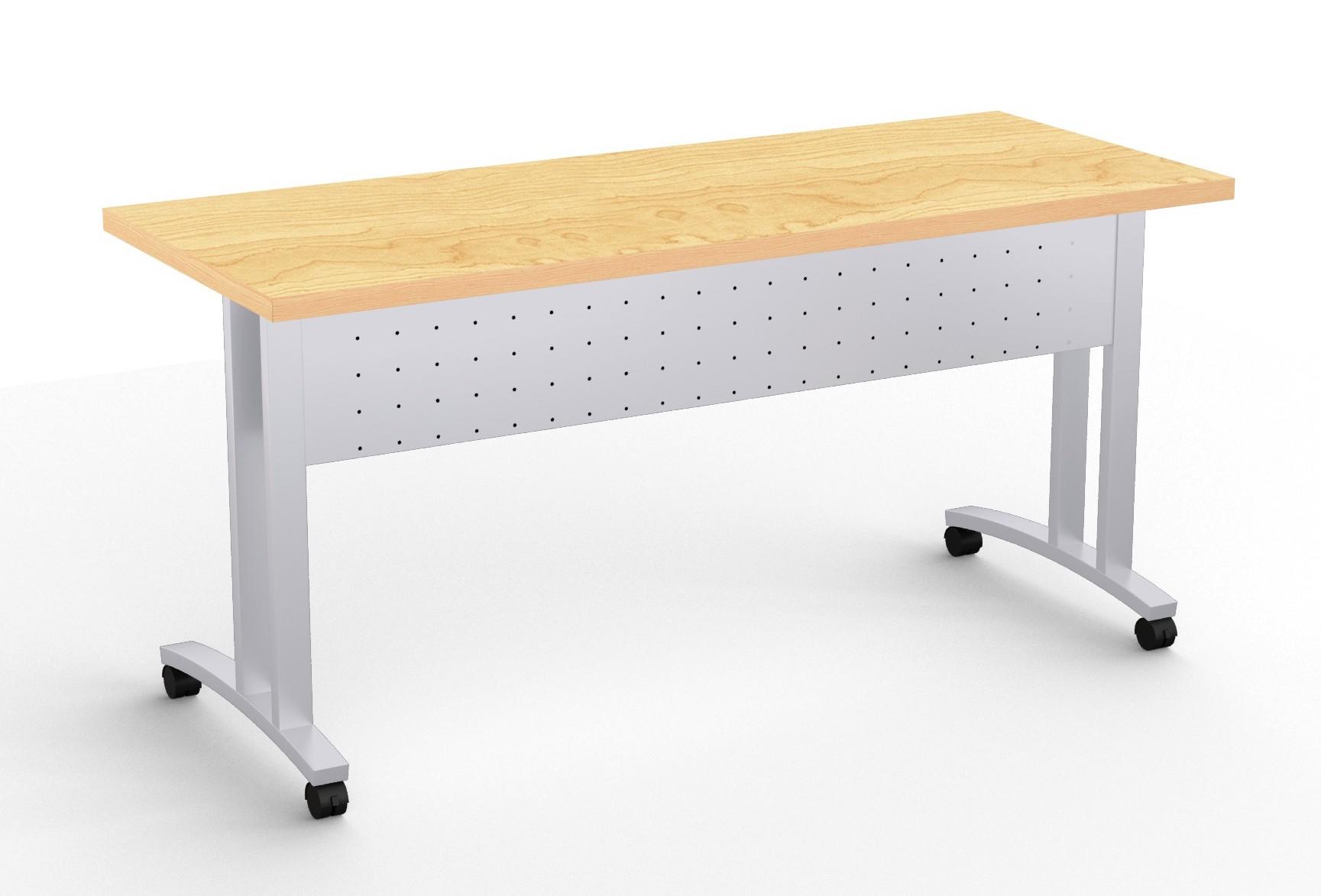 structure c leg flip top training room table in crema maple