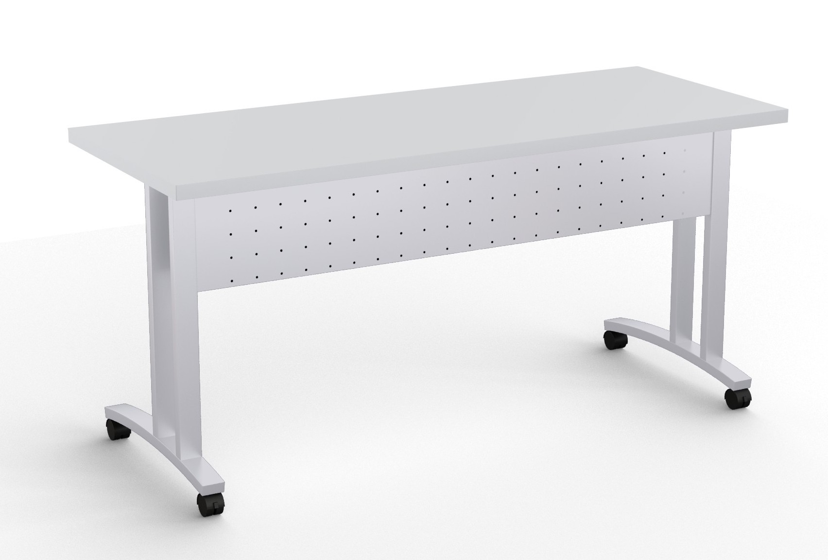 structure c leg flip top training room table in light grey