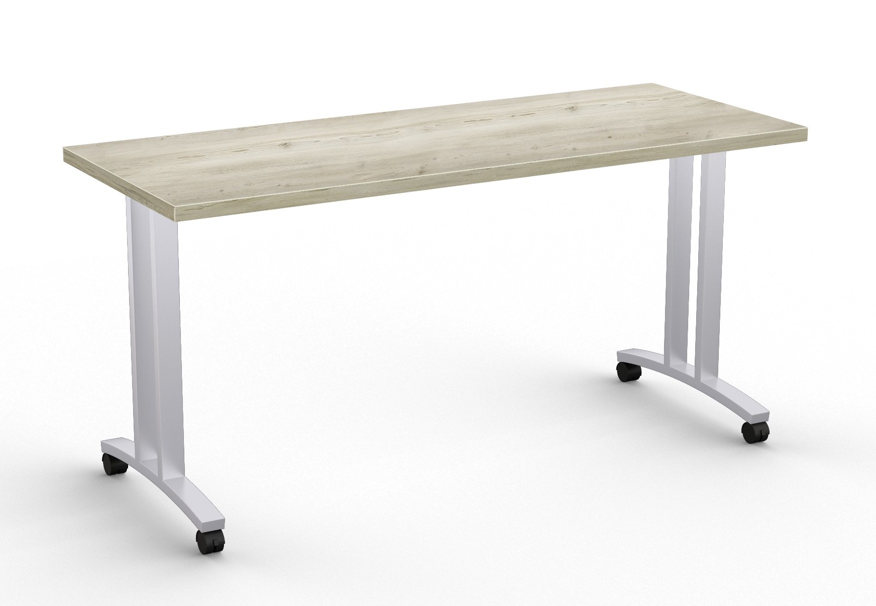 special-t structure t leg training table in aged driftwood