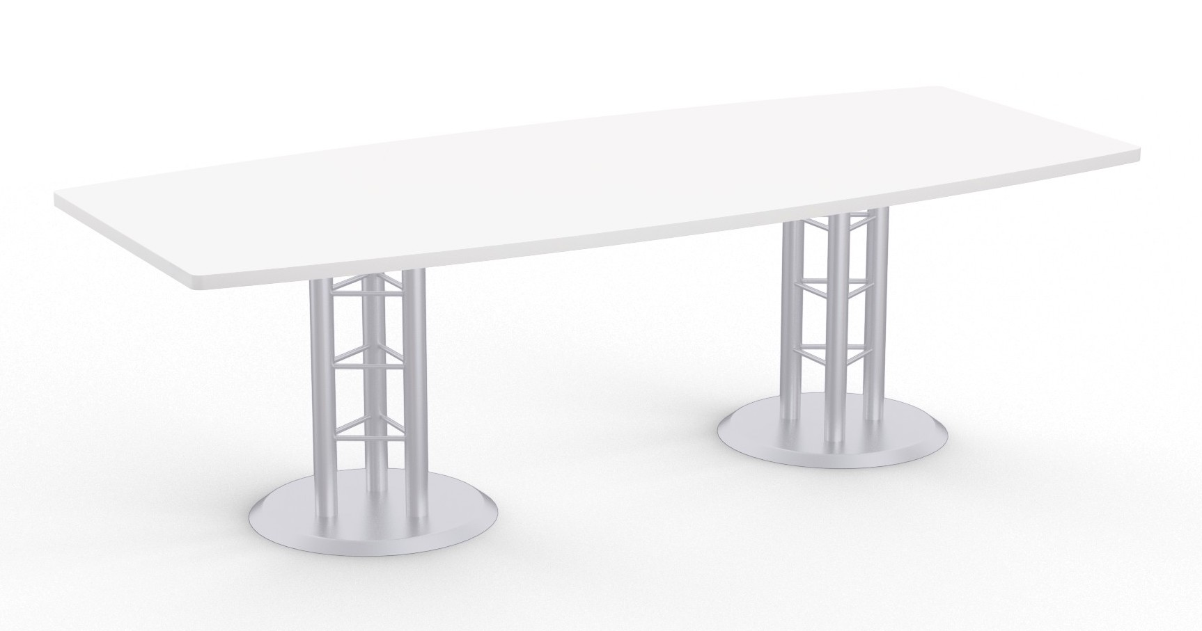atlantis boat shaped table in designer white