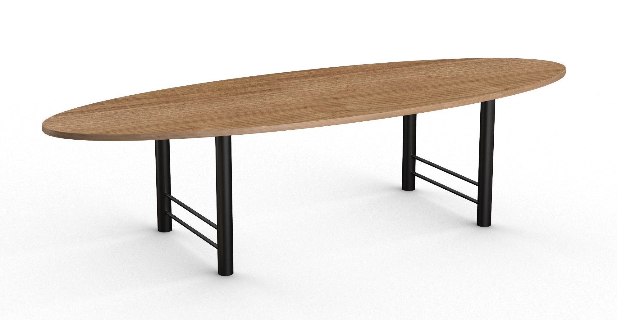 benton oval conference table with black base