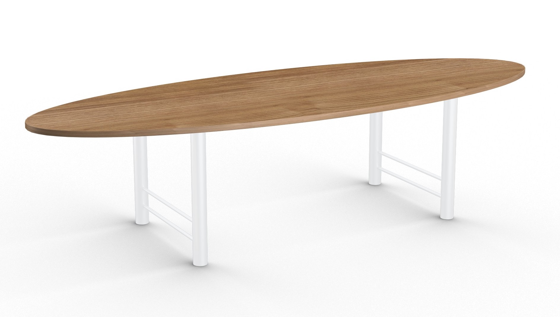 benton oval conference table with glossy white base