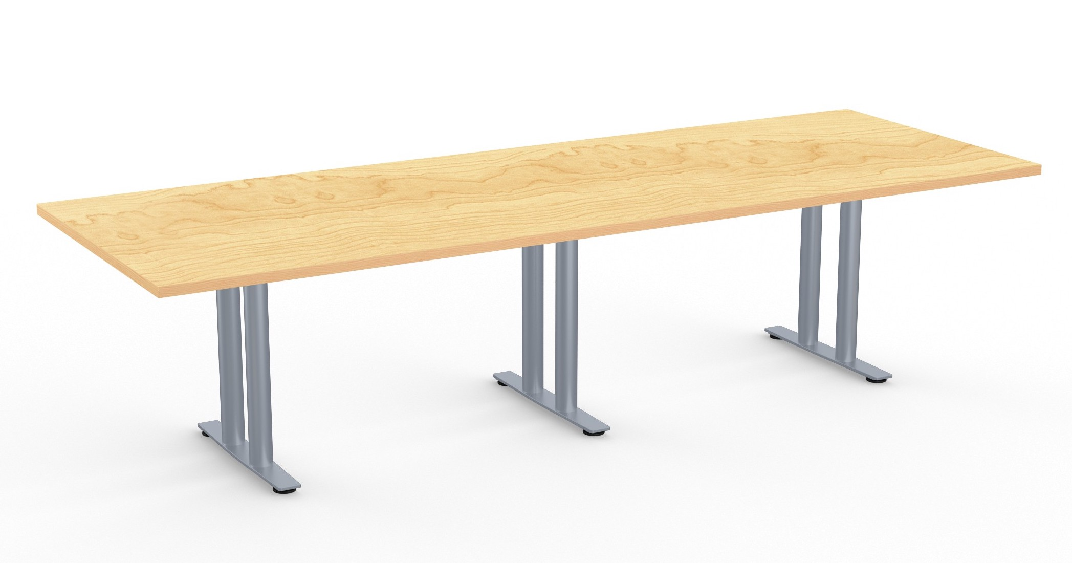 large rectangular conference table with metal column legs