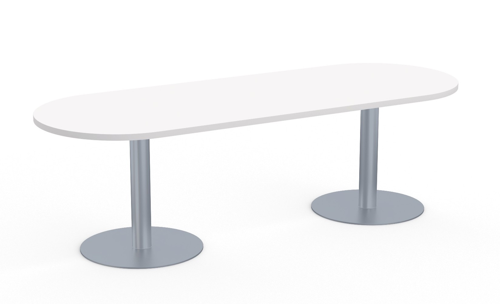 sienna racetrack conference table with metal disc bases