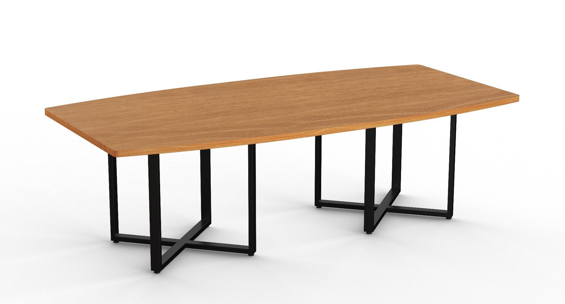 modern boat shaped conference table with cube bases