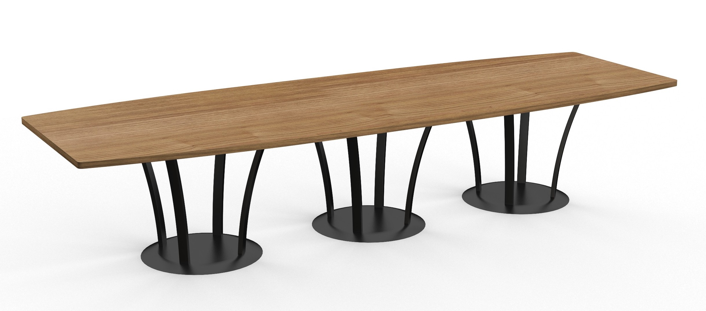boat shaped structure table with metal fountain bases