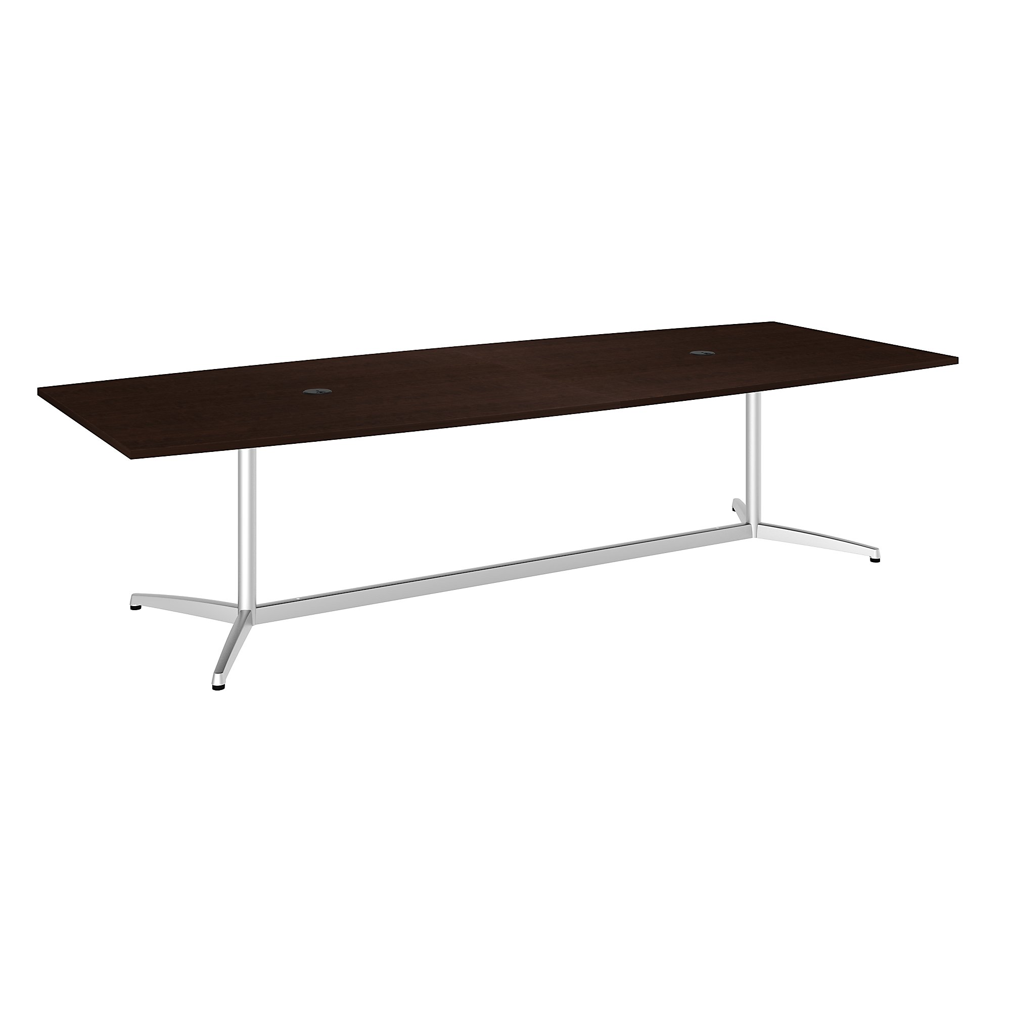 boat shaped conference table in mocha cherry
