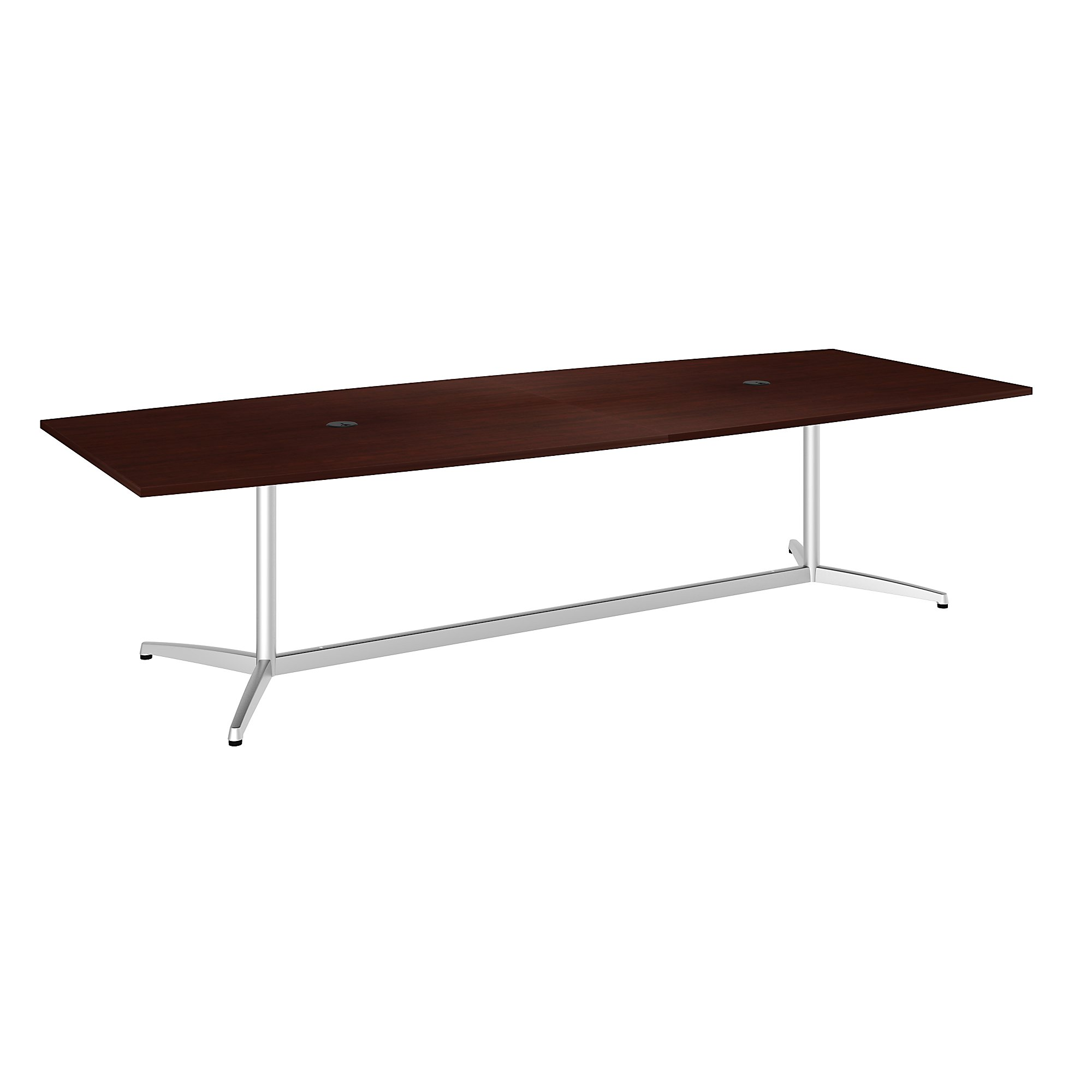 boat shaped conference table in harvest cherry