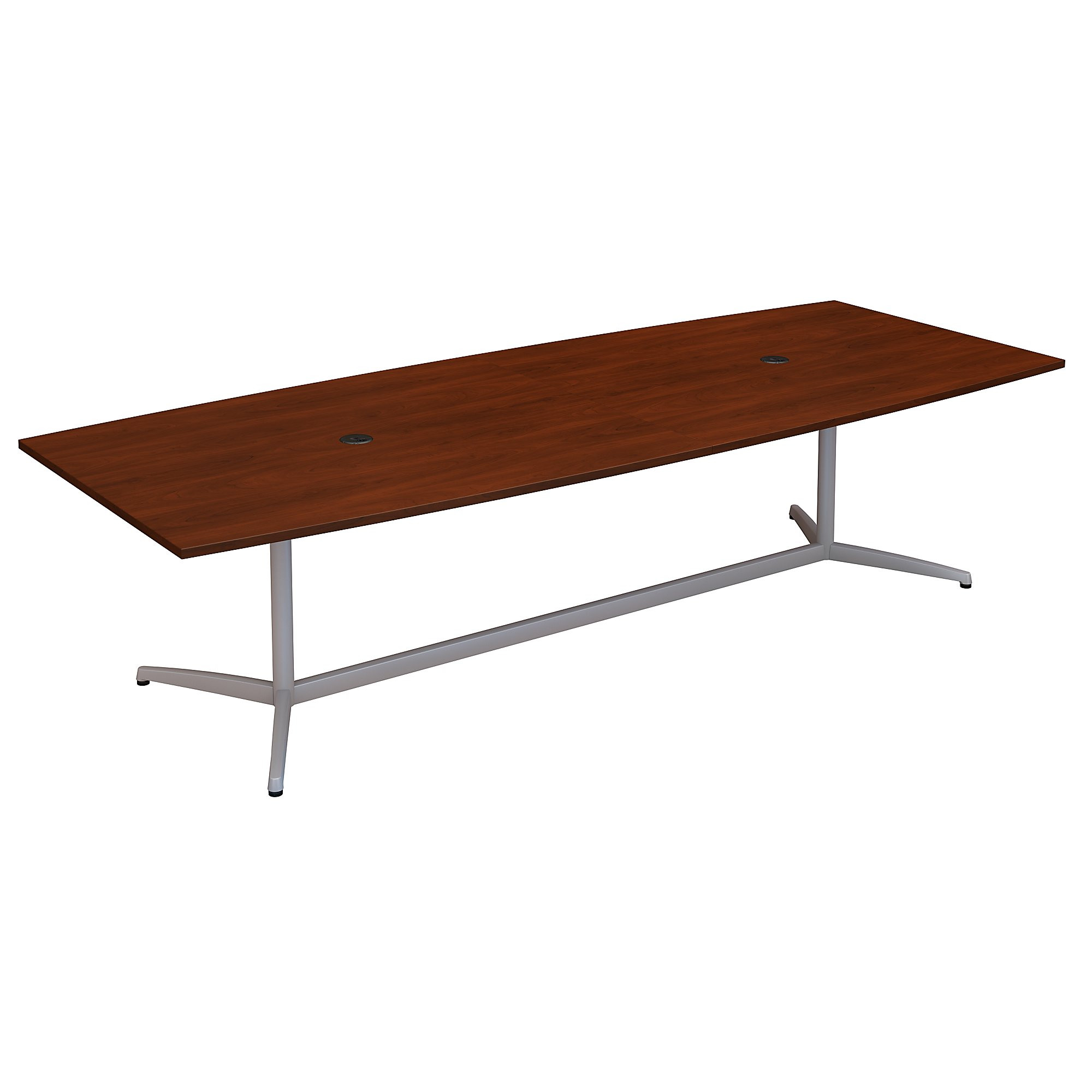 boat shaped conference table in hansen cherry
