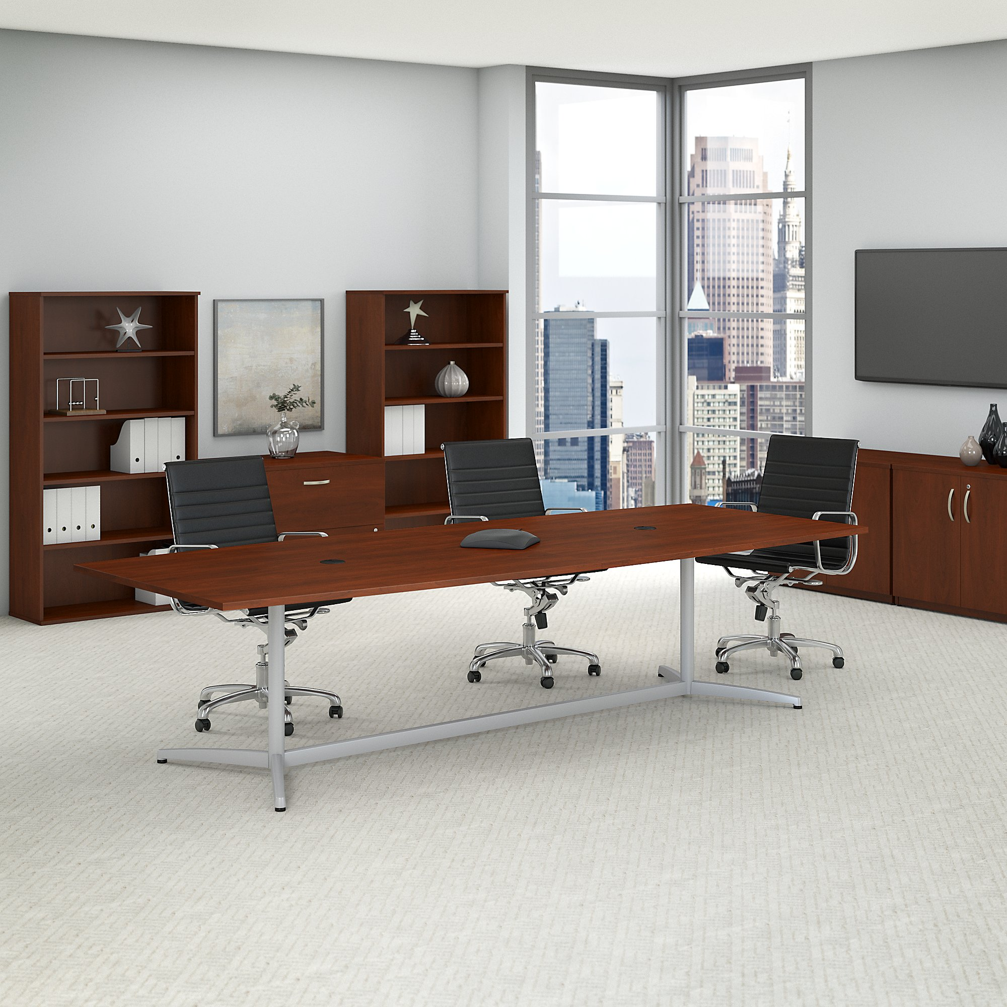 hansen cherry boat shaped conference table
