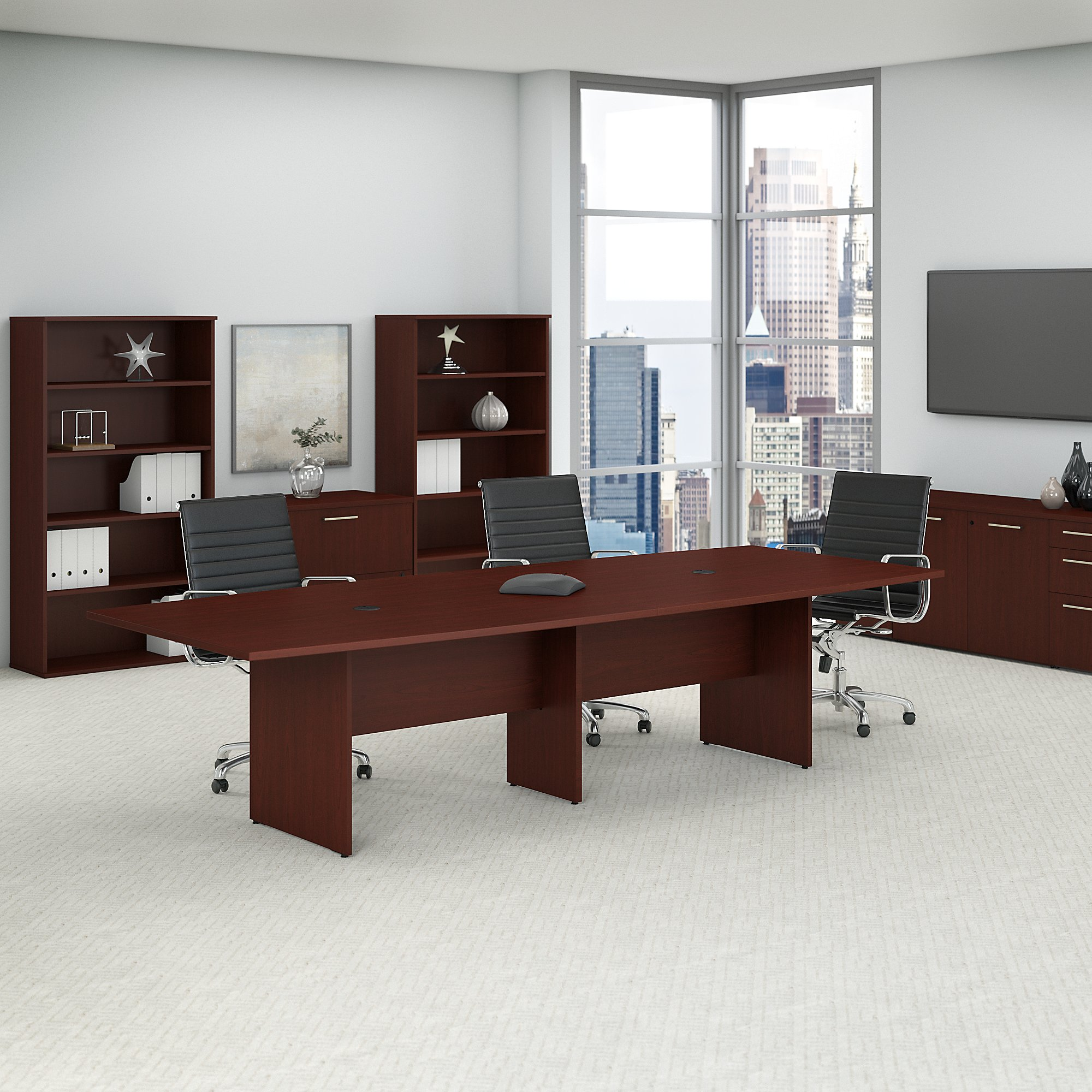 harvest cherry 10' boat shaped conference table