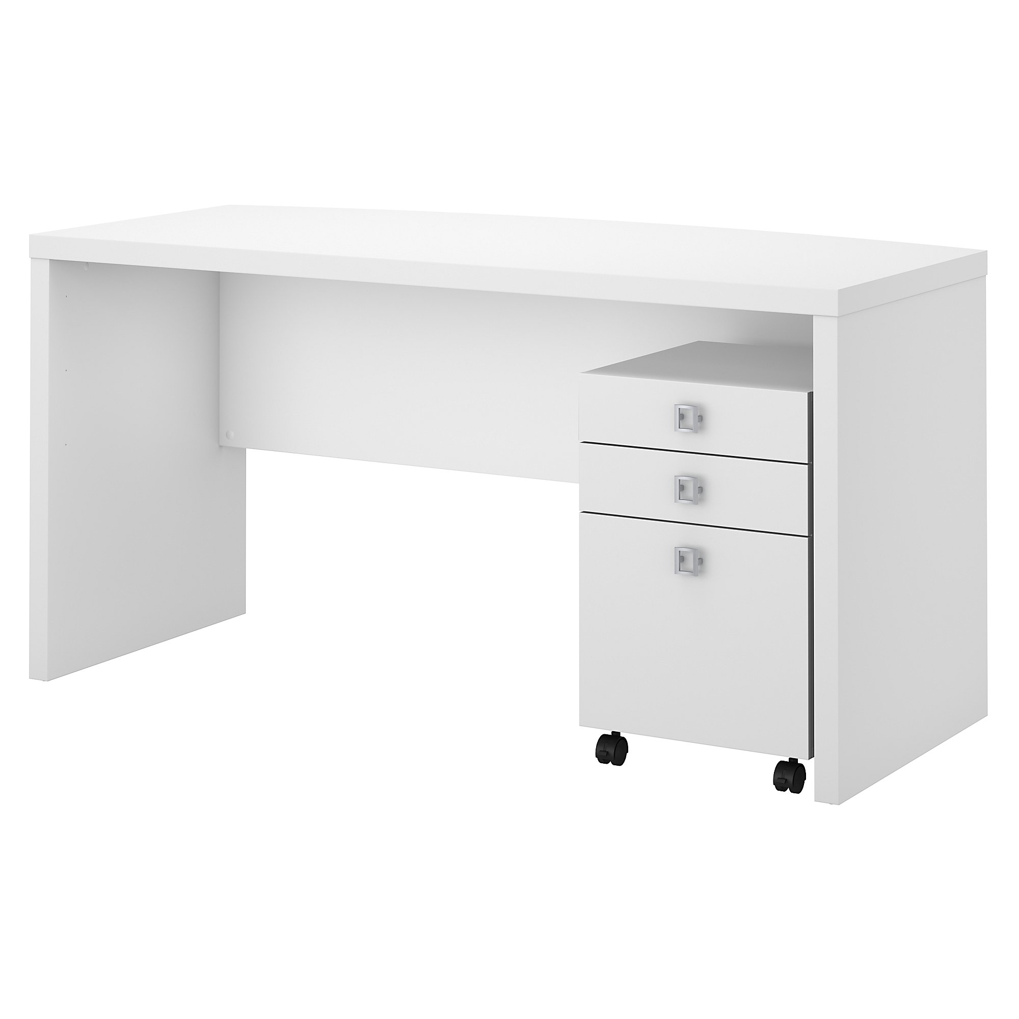 pure white echo bow front desk