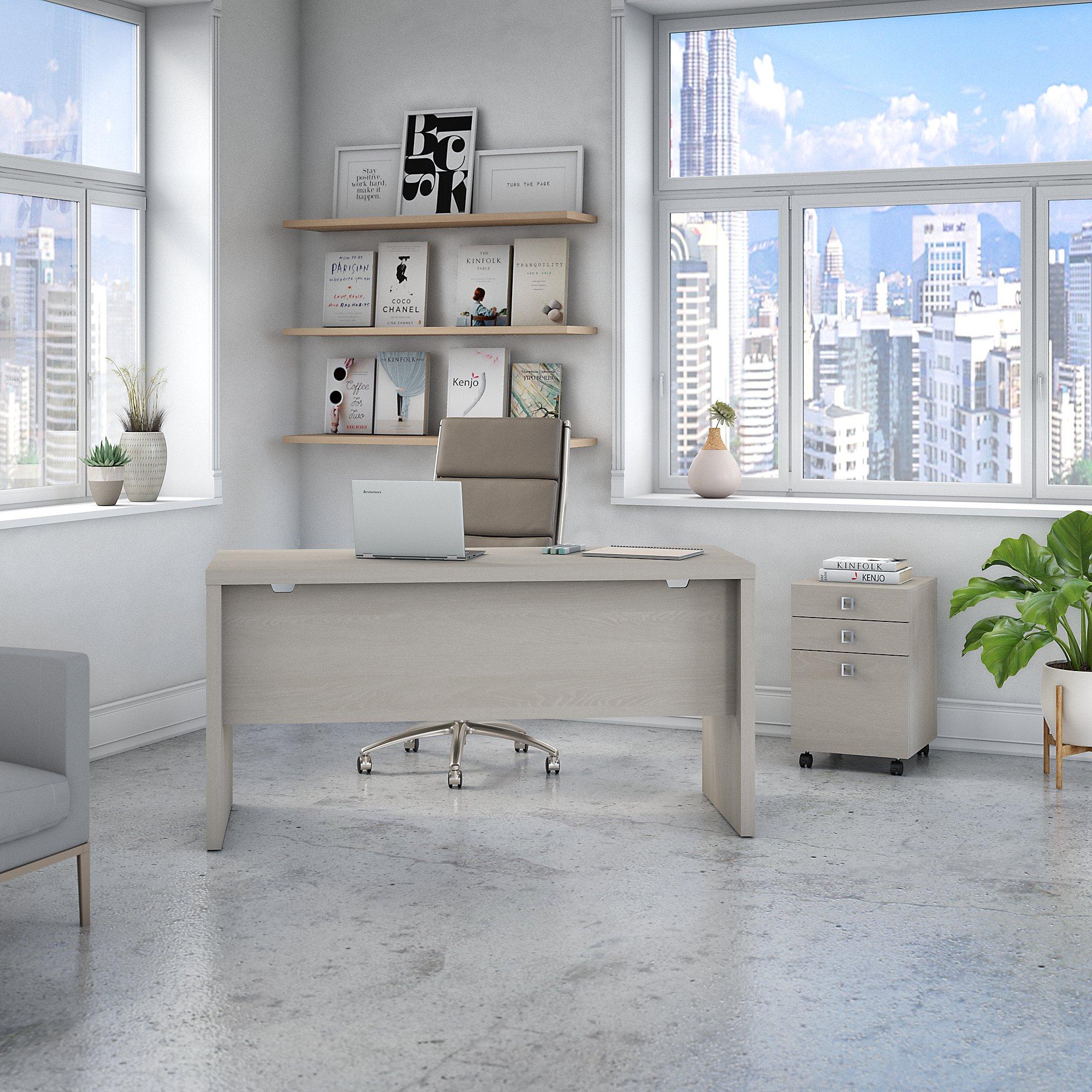 gray sand echo credenza desk with mobile file cabinet