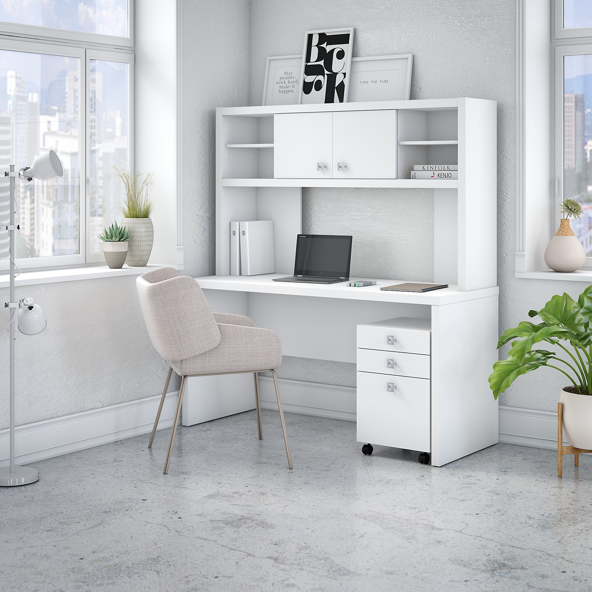 ech006 office by kathy ireland echo pure white credenza desk