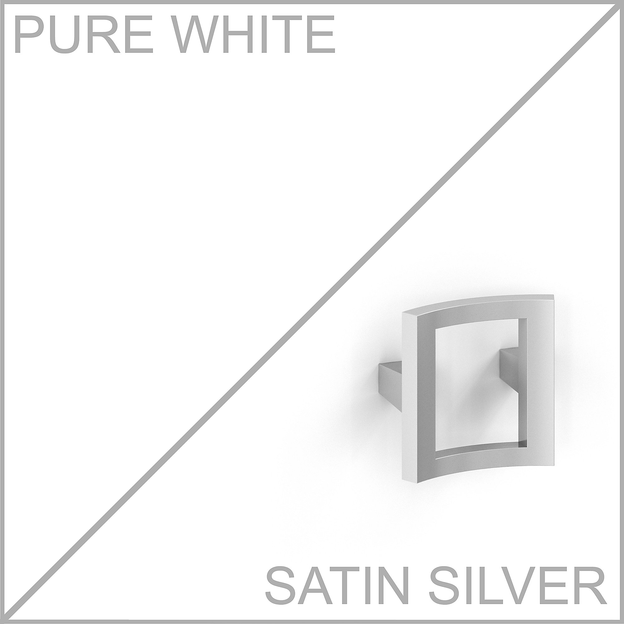 pure white laminate with silver drawer pull