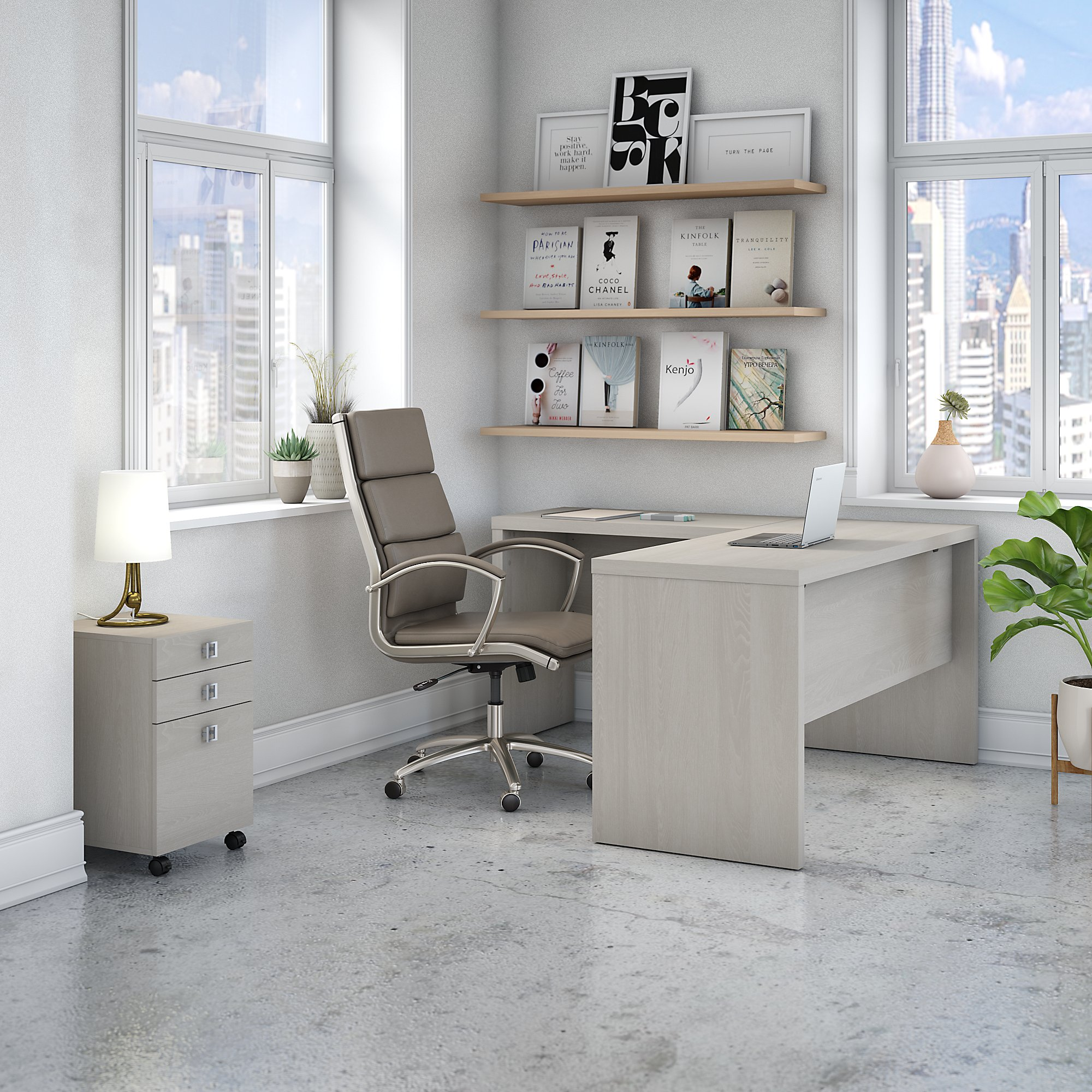 ech008 office by kathy ireland l desk with gray sand finish