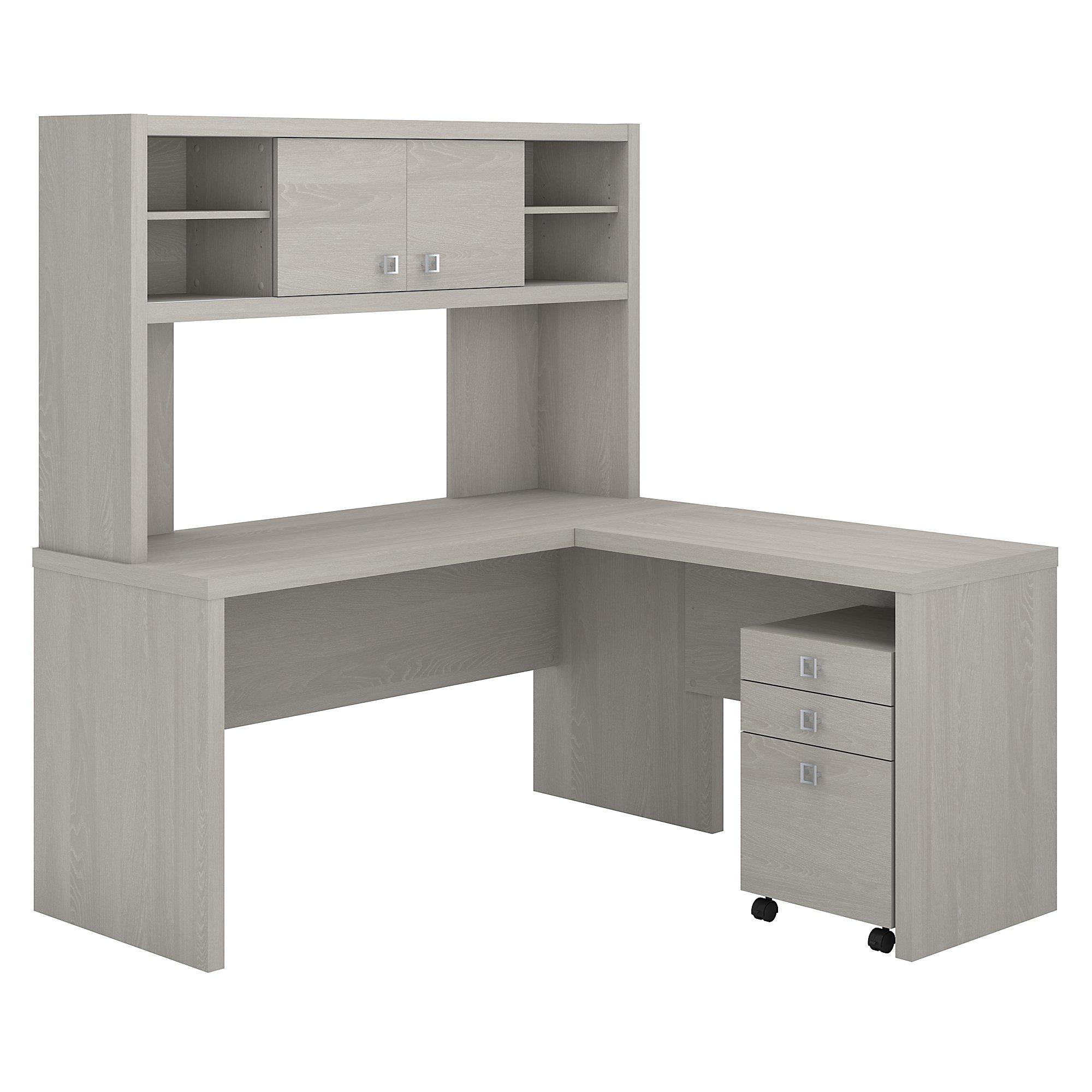 gray sand echo l desk with hutch