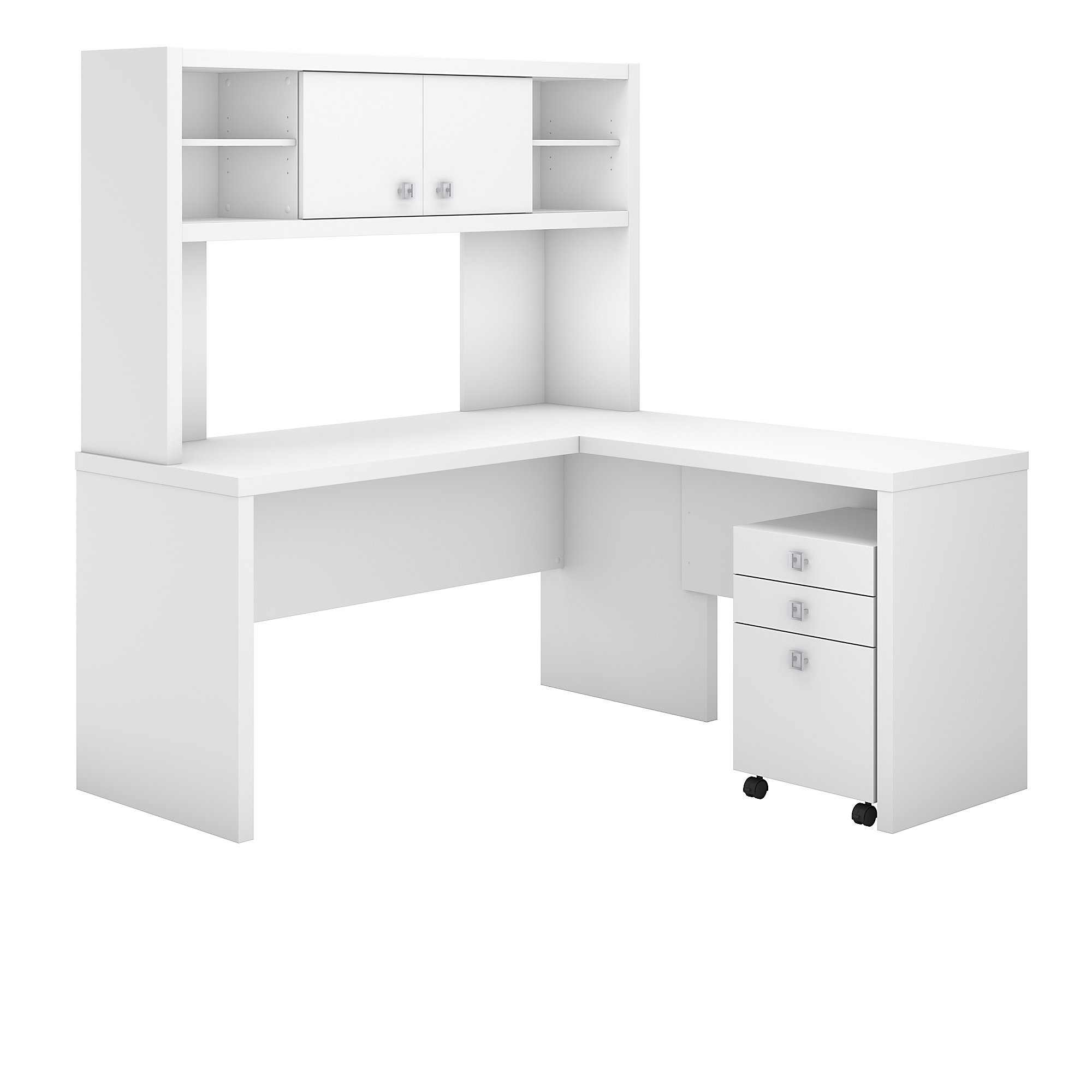 pure white echo l desk with hutch