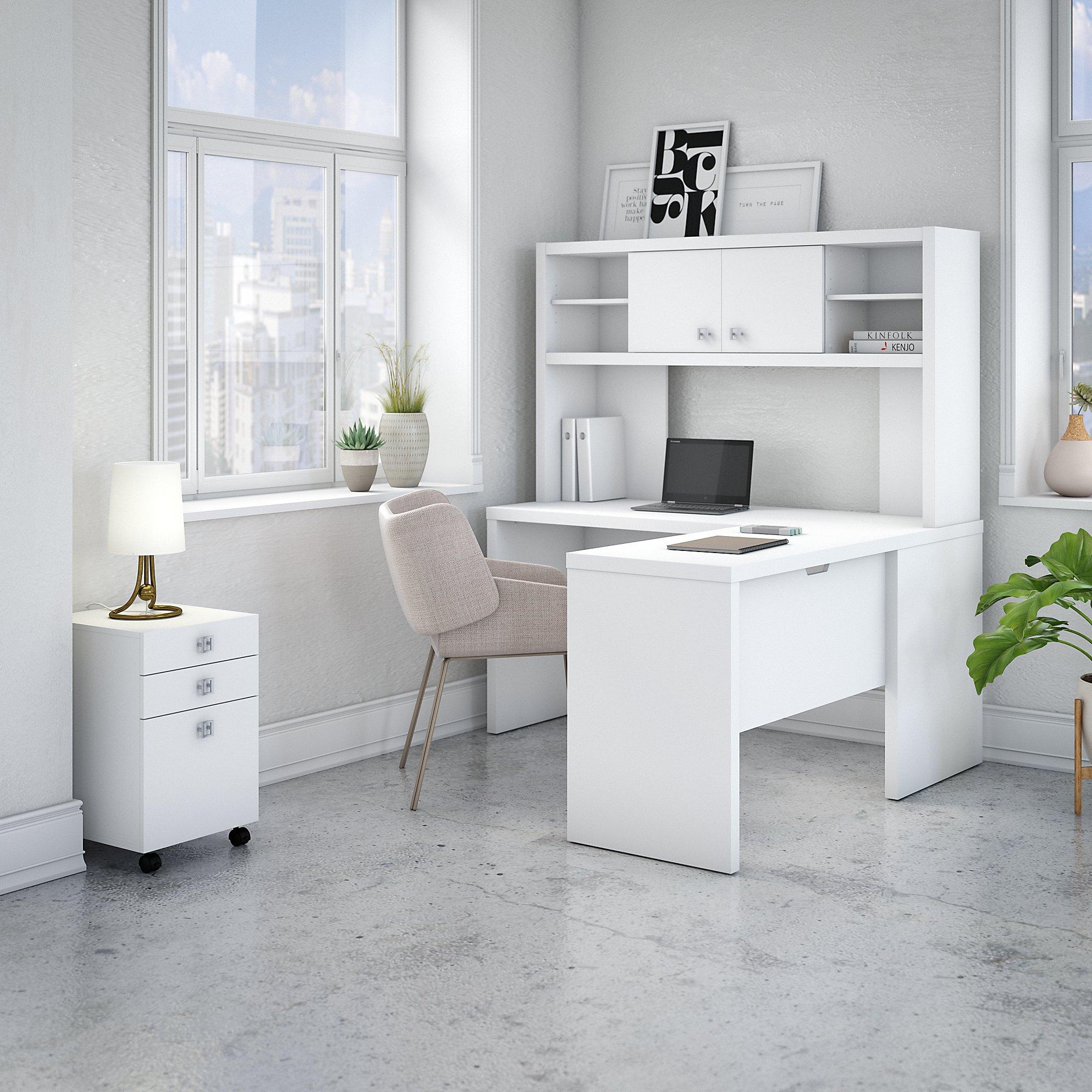 ech009 pure white reversible l desk