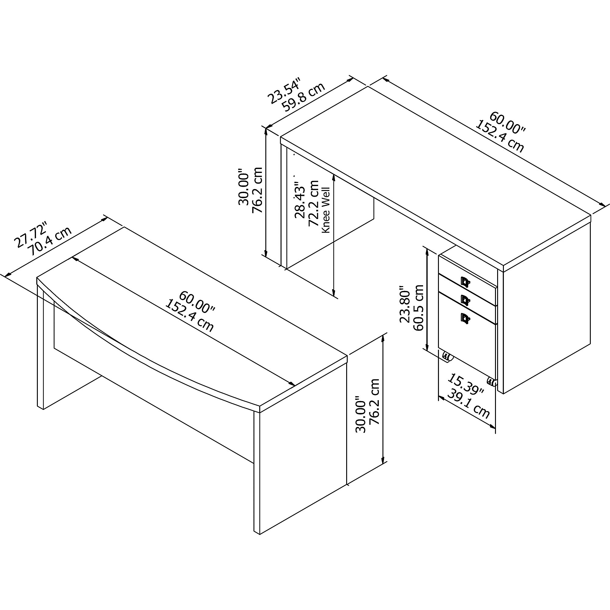 ech010 desk dimensions