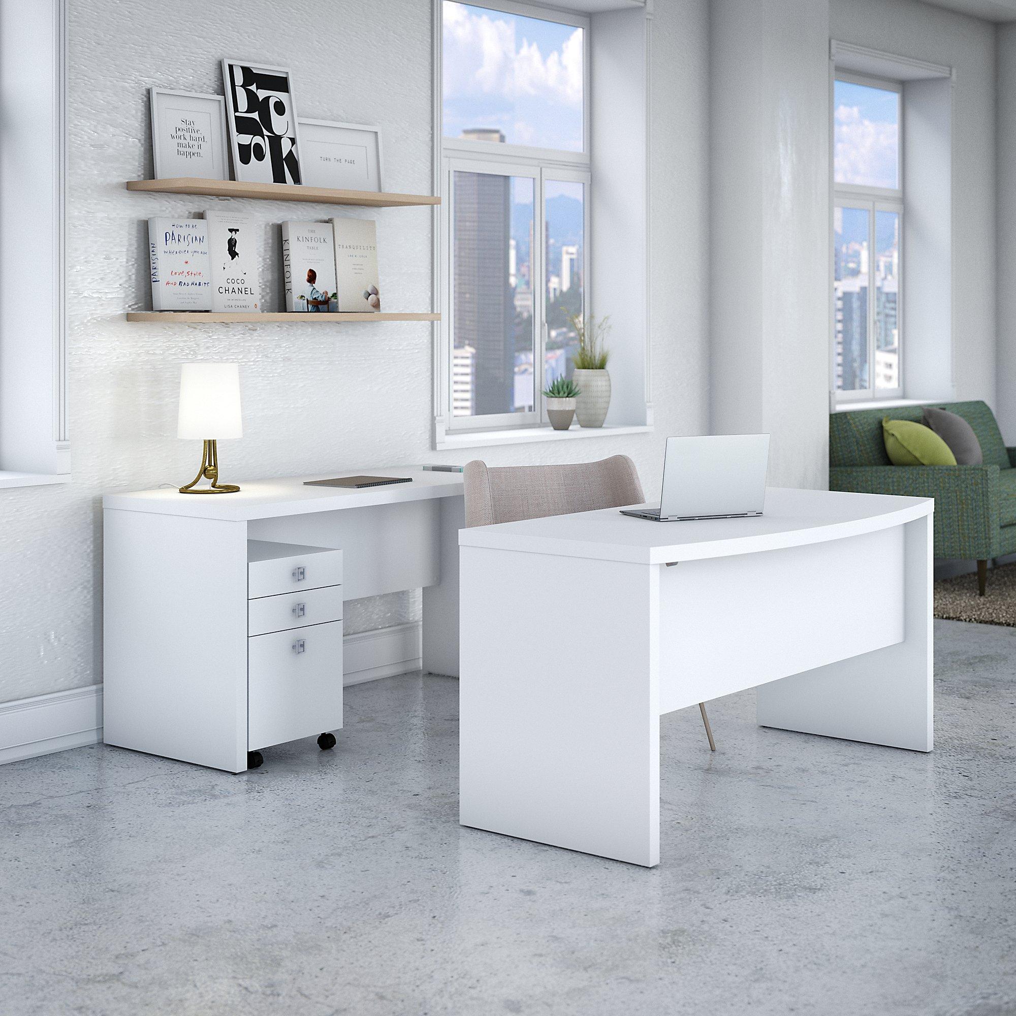 pure white bow front desk