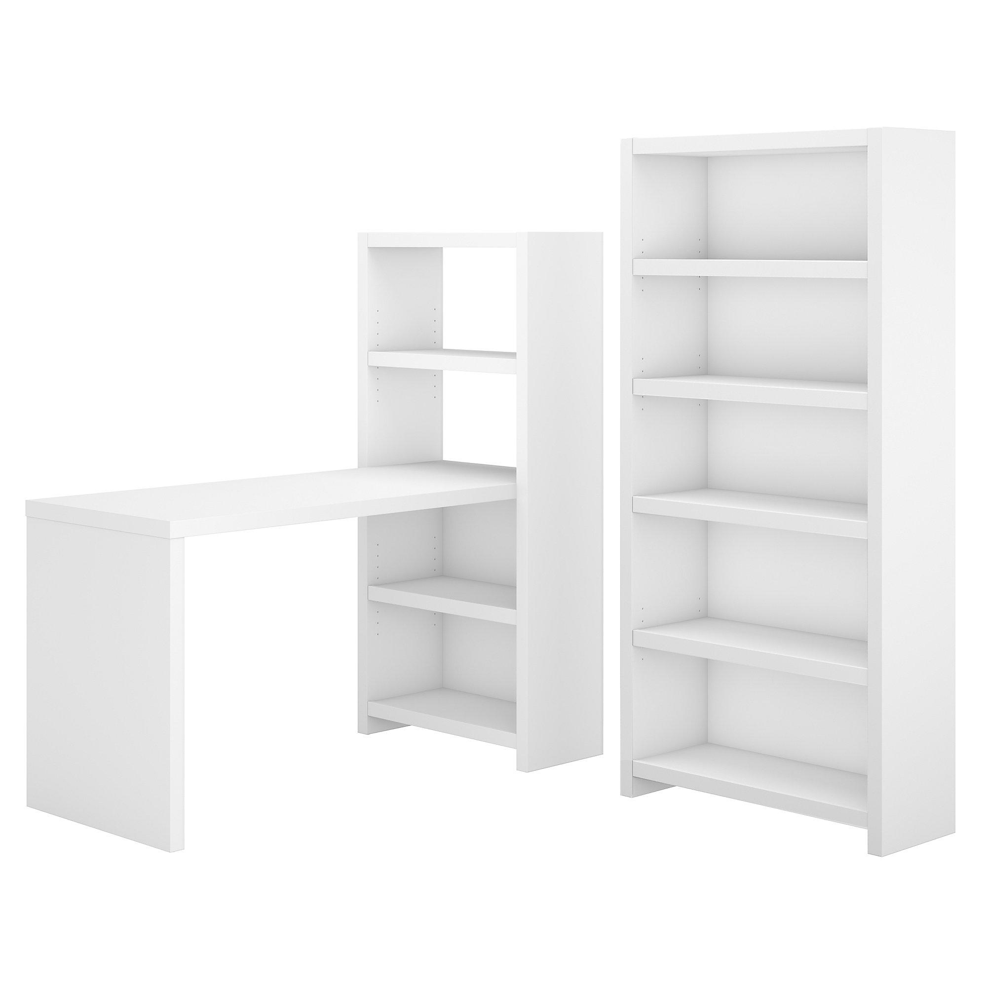 echo pure white bookcase desk with storage