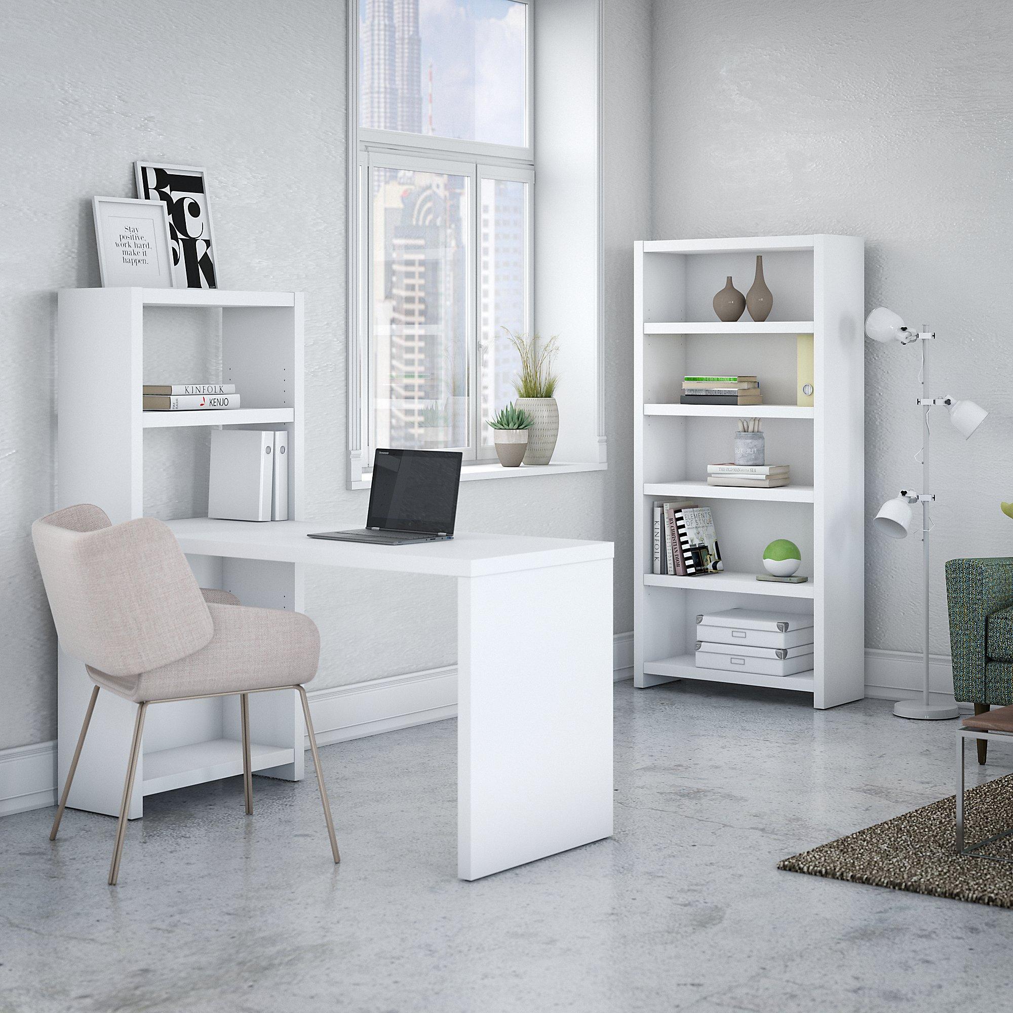pure white echo bookcase desk with storage