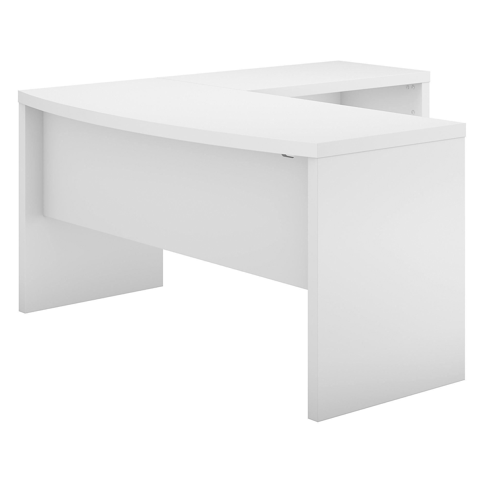 echo bow front l desk in pure white